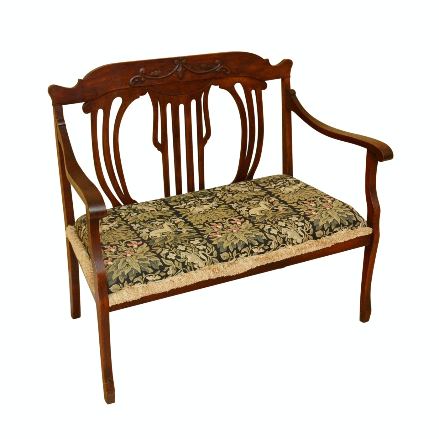Antique Mahogany Settee with Tapestry Cushion
