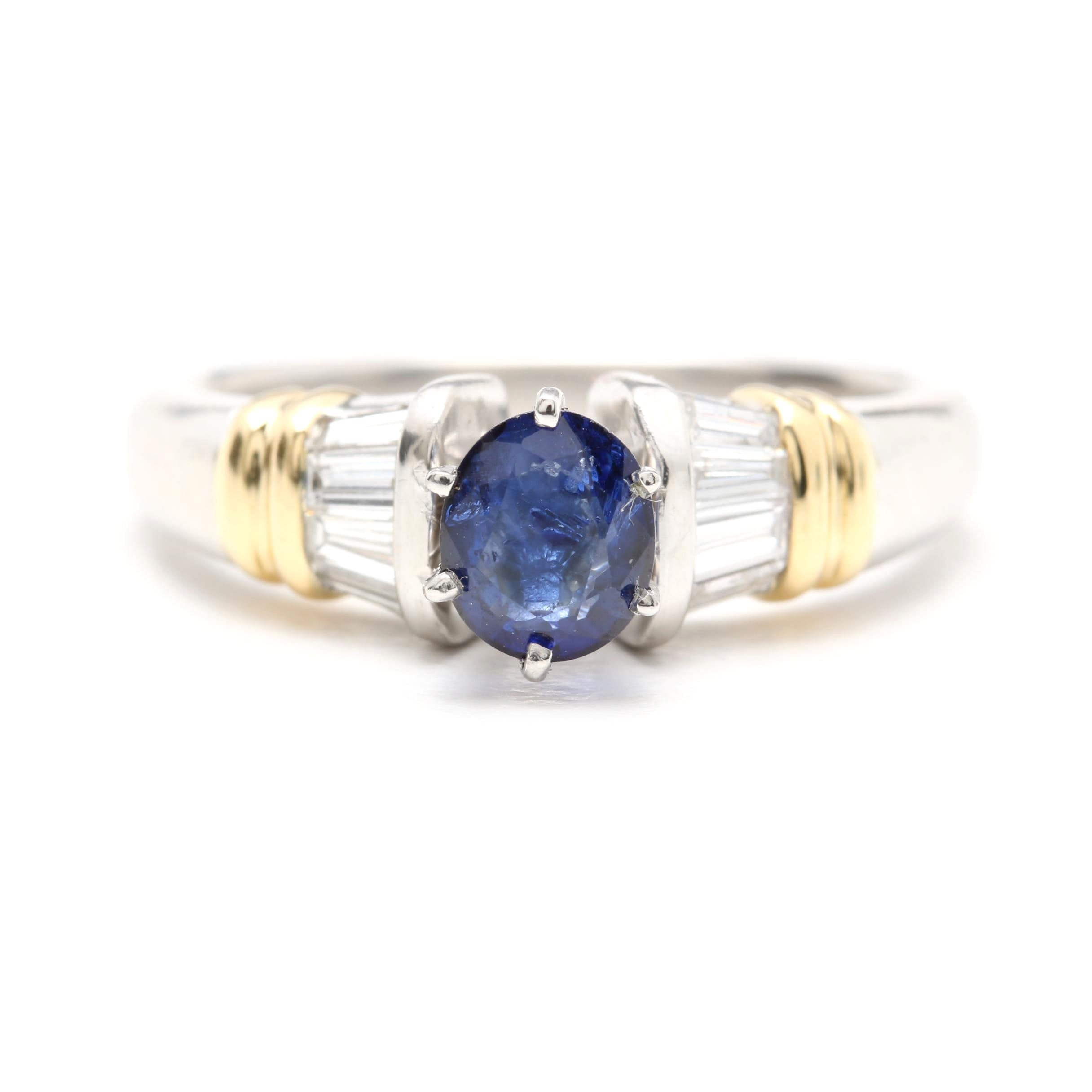 Platinum Sapphire and Diamond Ring with 18K Yellow Gold Accents