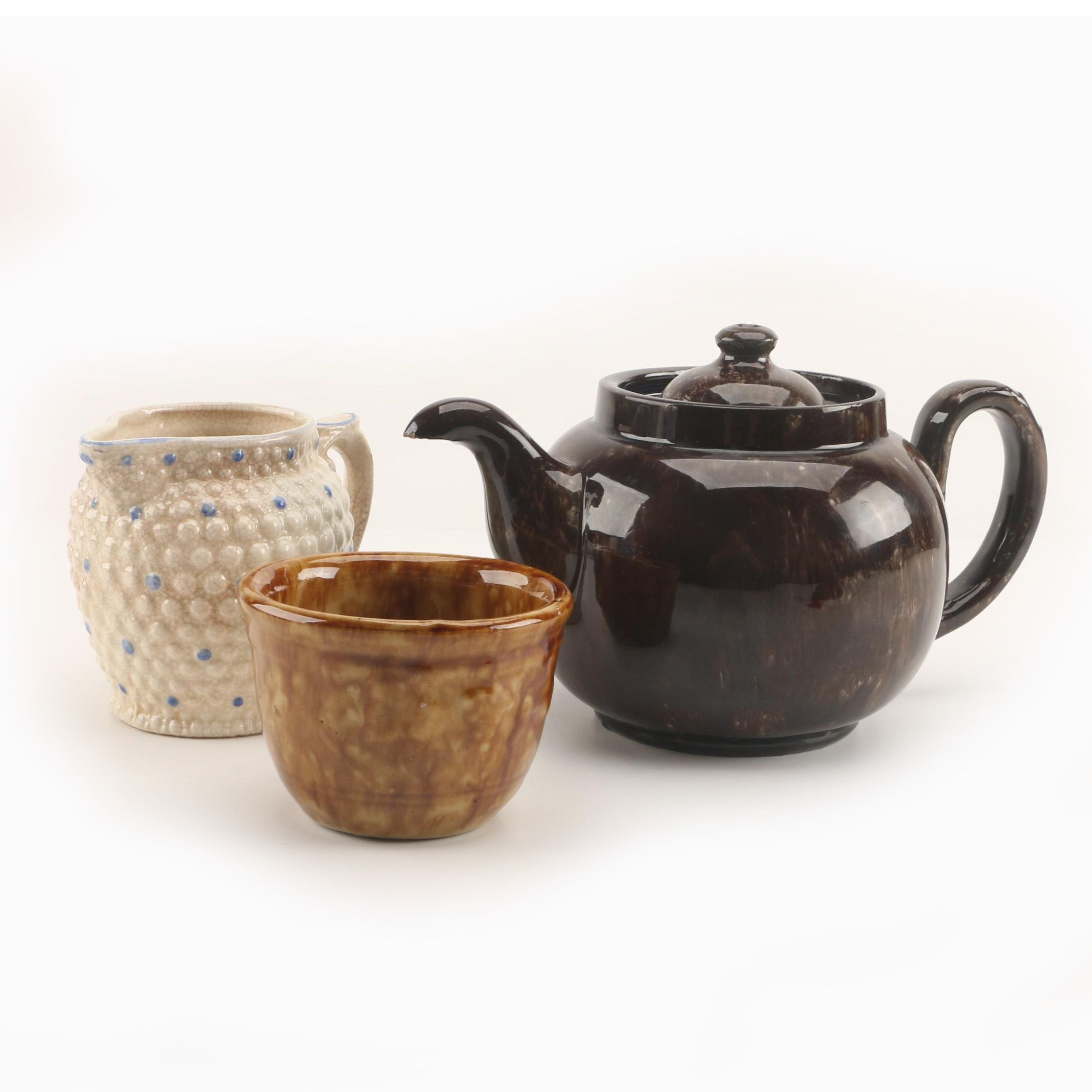 Vintage Japanese Hobnail Creamer with Teapot and Open Sugar Bowl