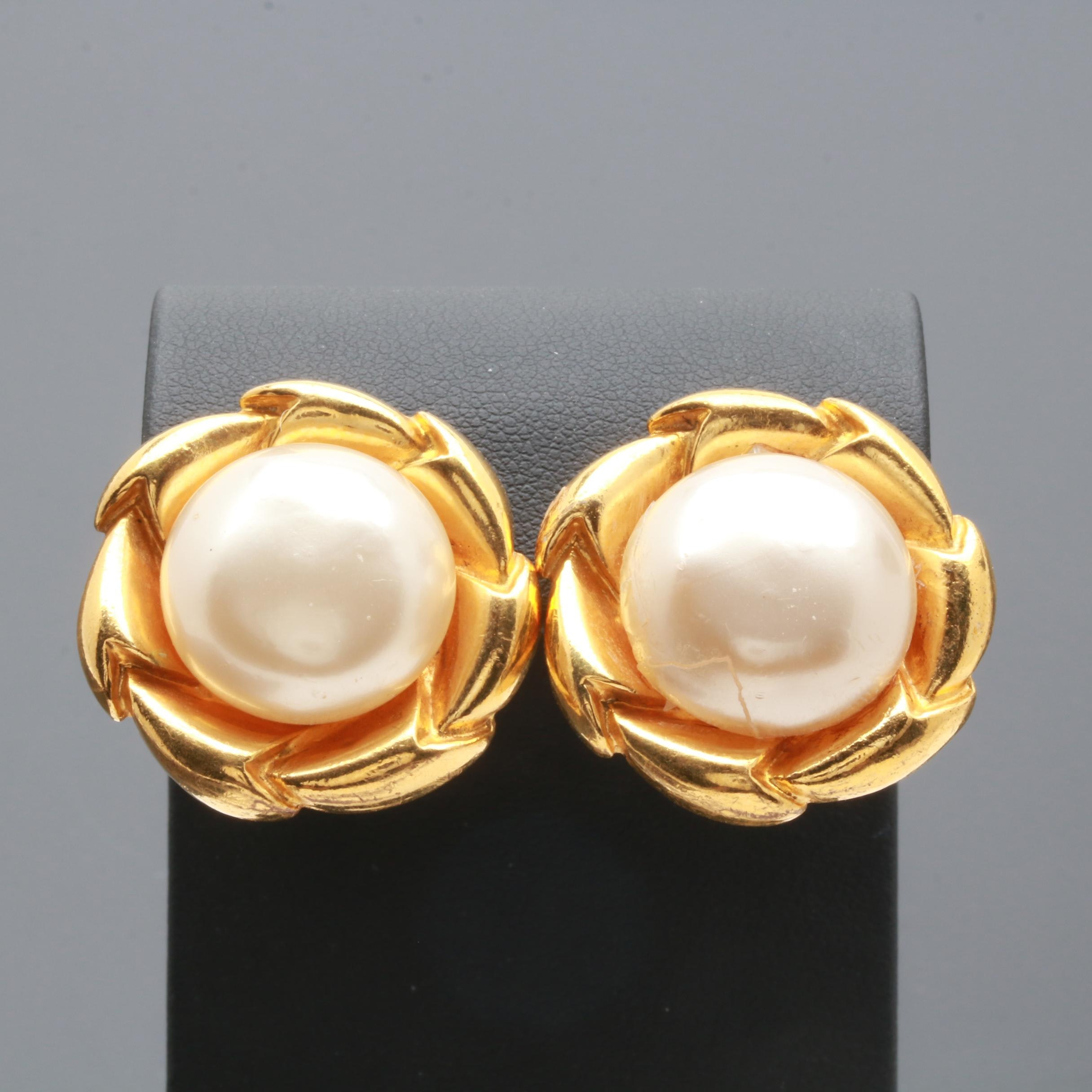Vintage Chanel Imitation Pearl Clip On Earrings
