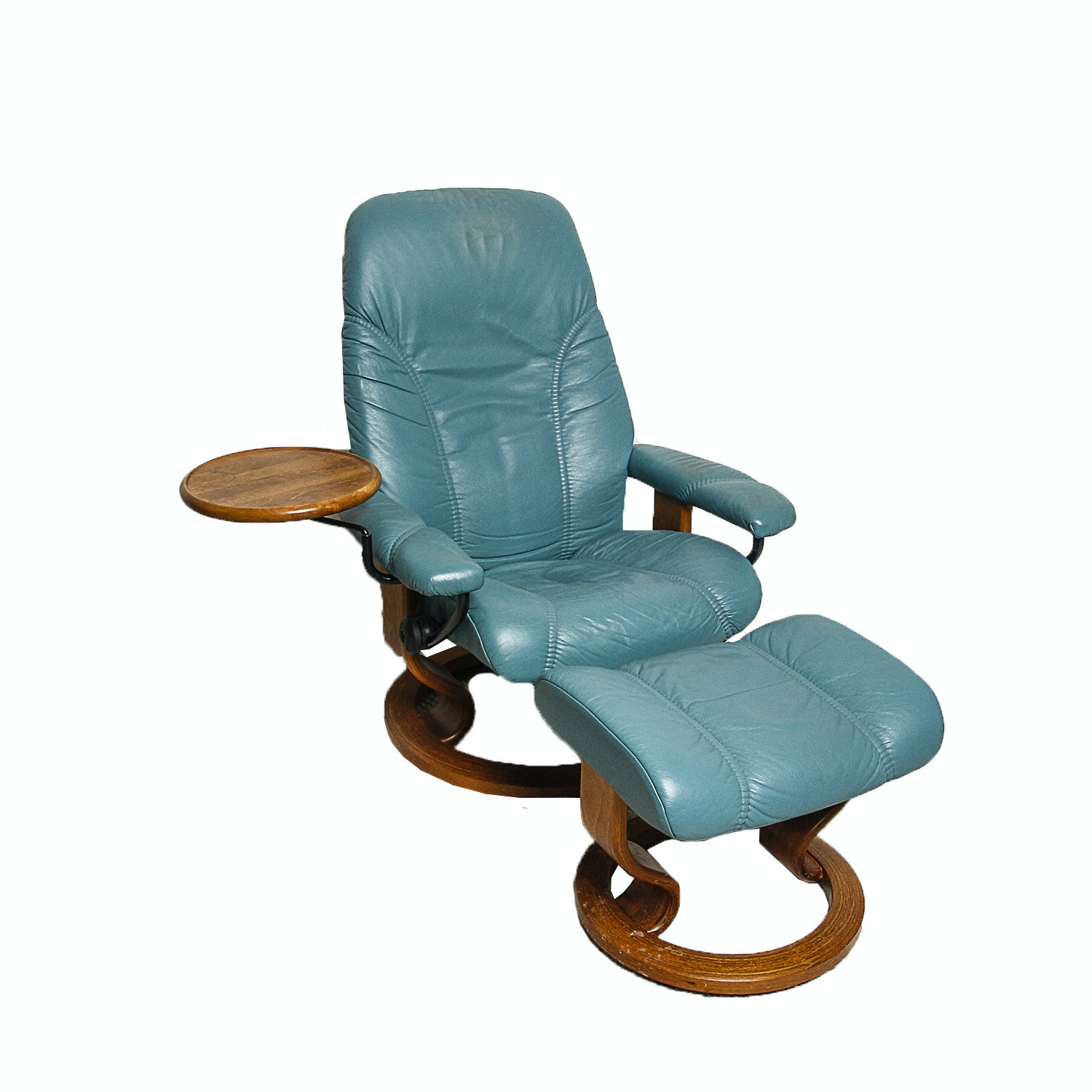 """Ekornes """"Stressless"""" Leather Chair with Computer Table and Ottoman"""