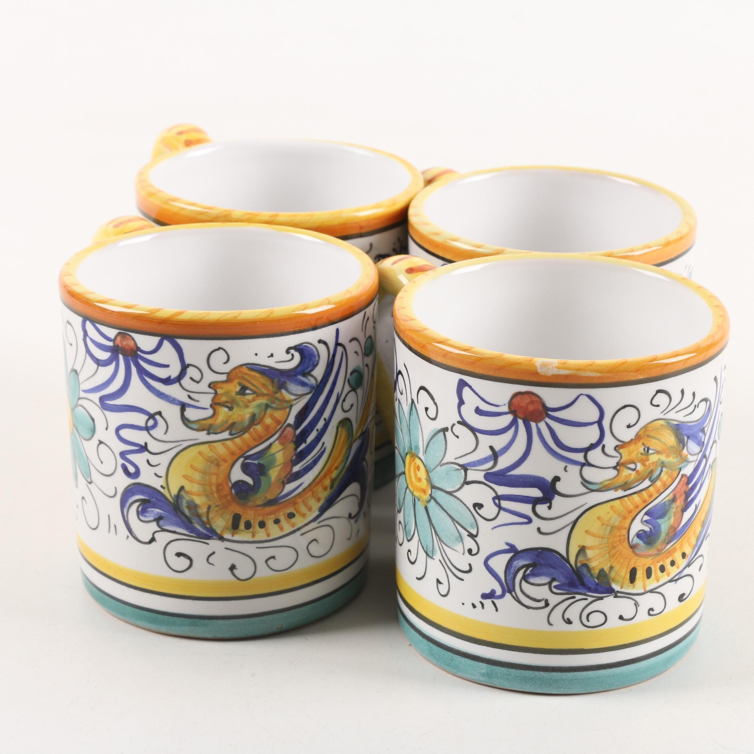 Deruta Hand-Painted Maiolica Mugs