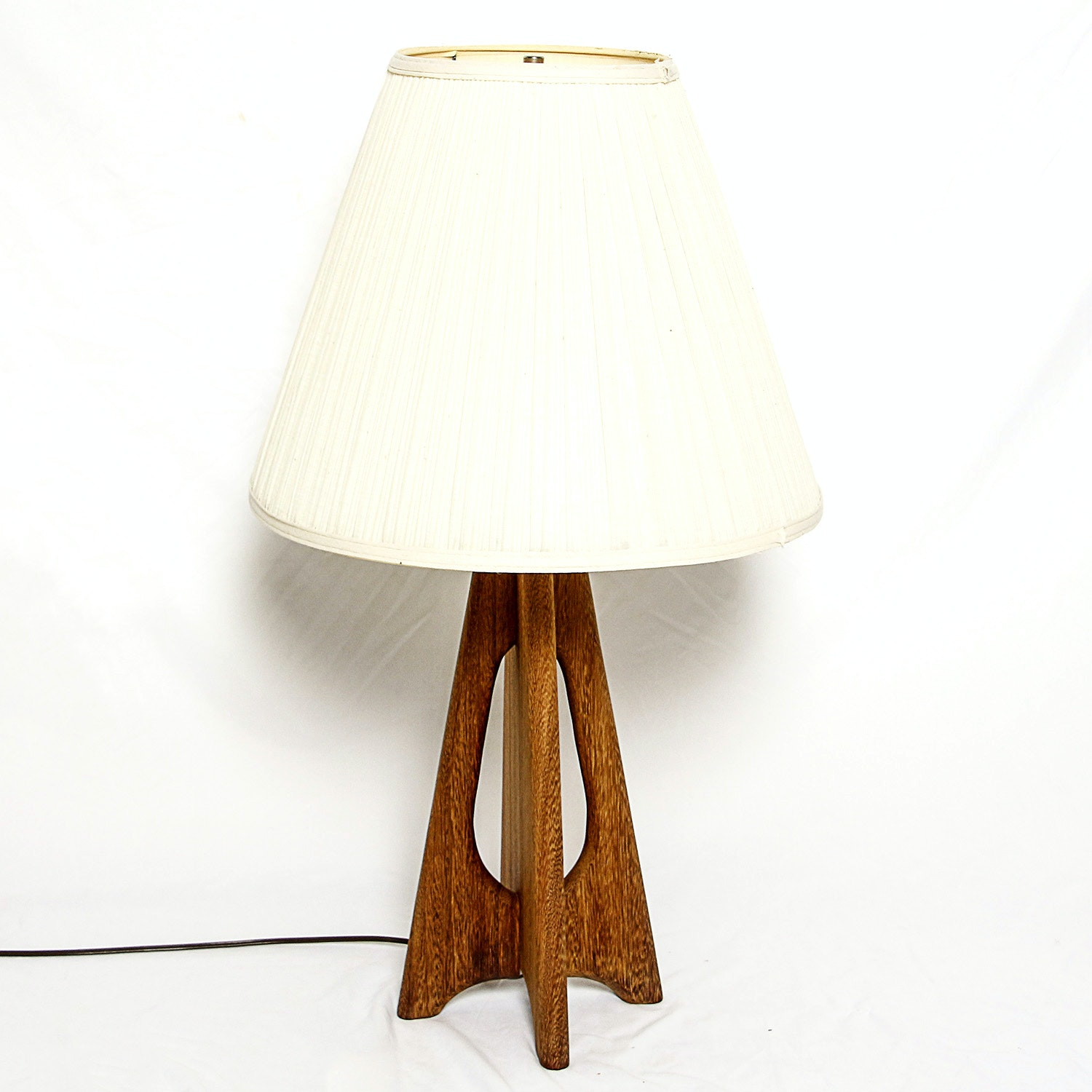 Mid Century Modern-Style Carved Wood Table Lamp with Fabric Shade
