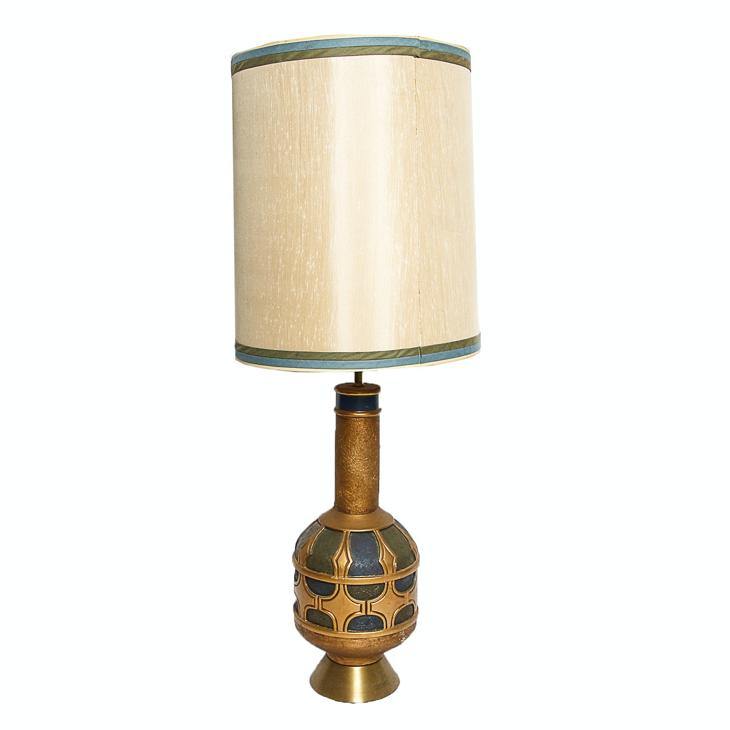 Mid-Century Embossed Ceramic Table Lamp with Large Fabric Barrel Shade