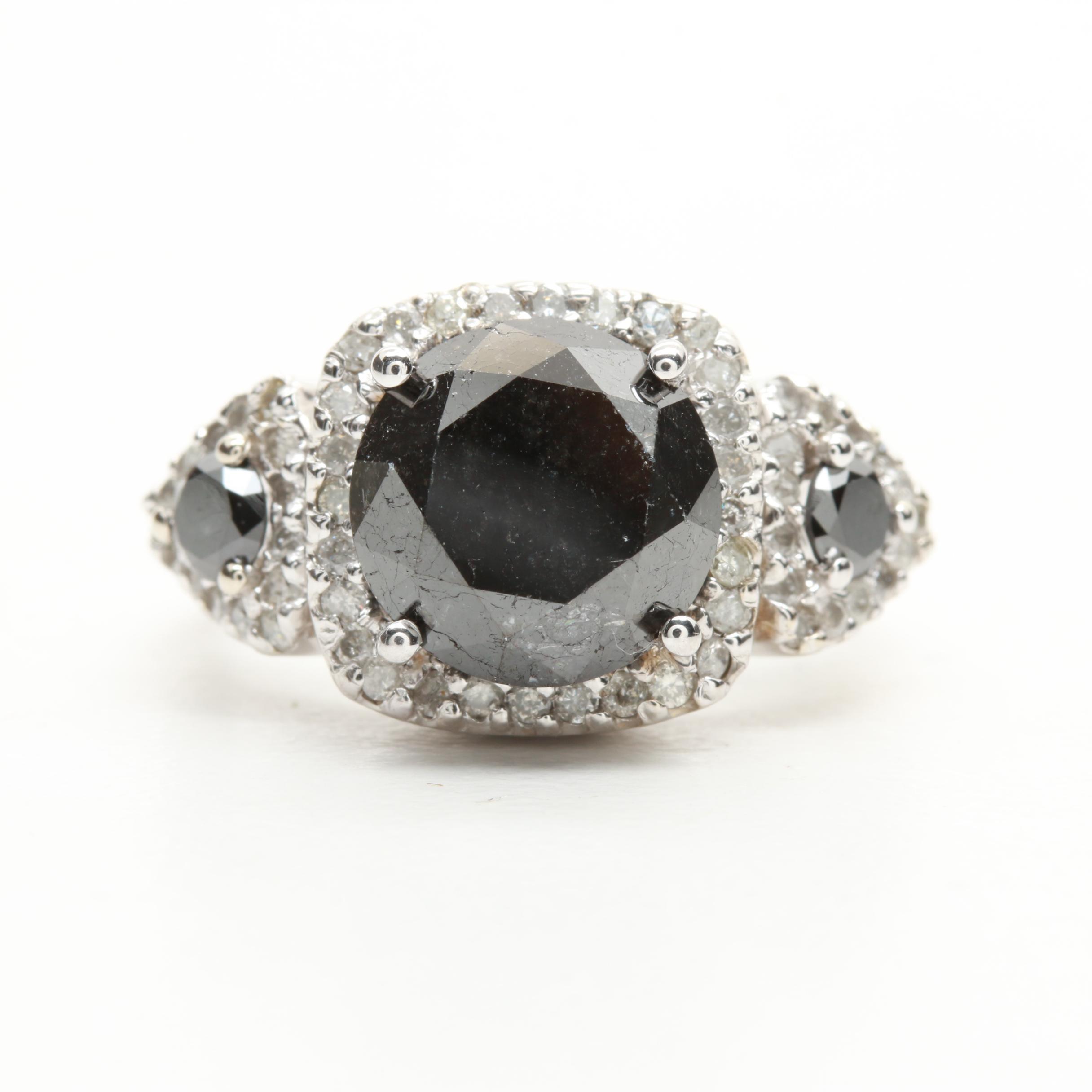 14K White Gold 6.20 CTW Diamond Ring Including Black Diamonds