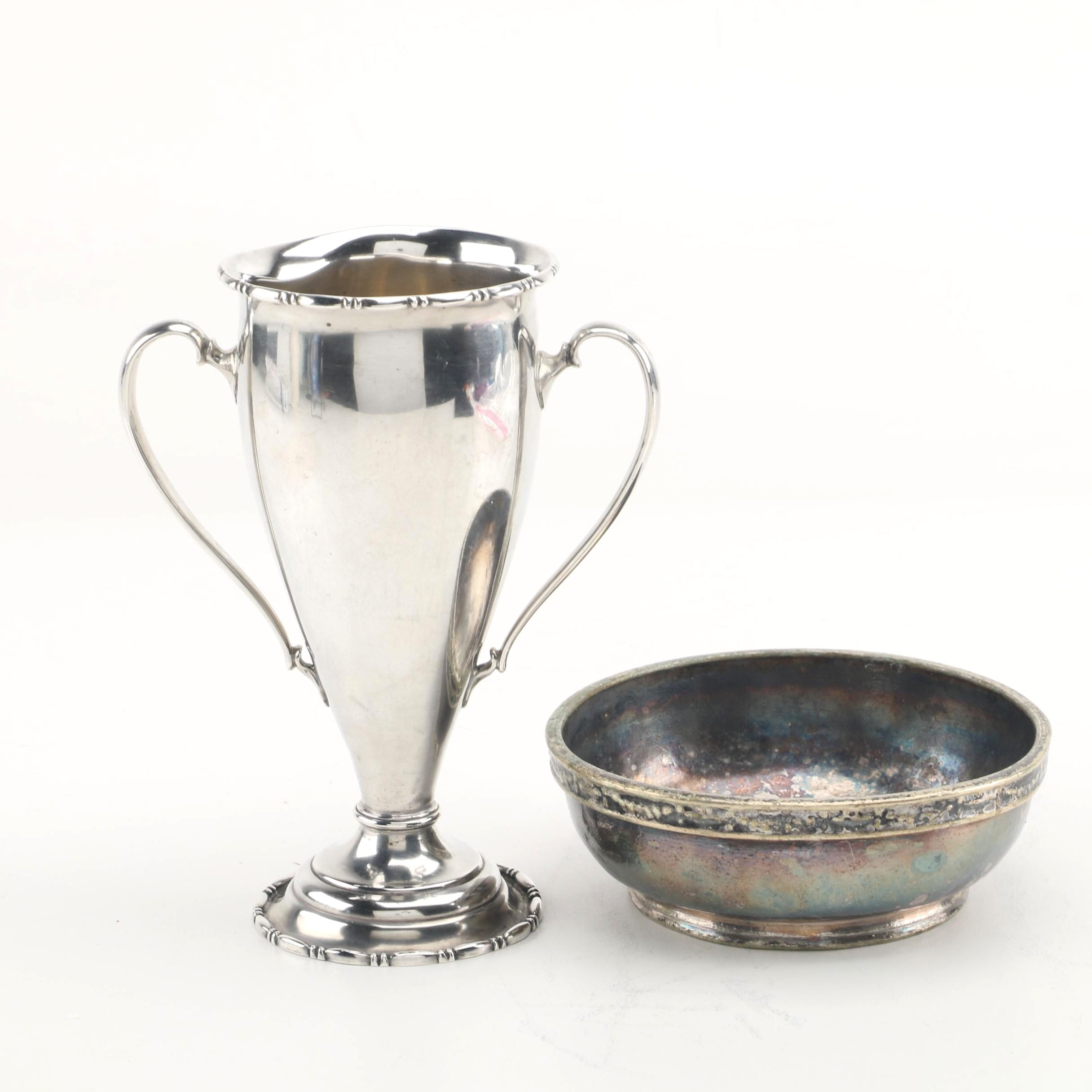 Reed & Barton Sterling Silver Trophy Cup with Silver Plate Hotels Statler Bowl