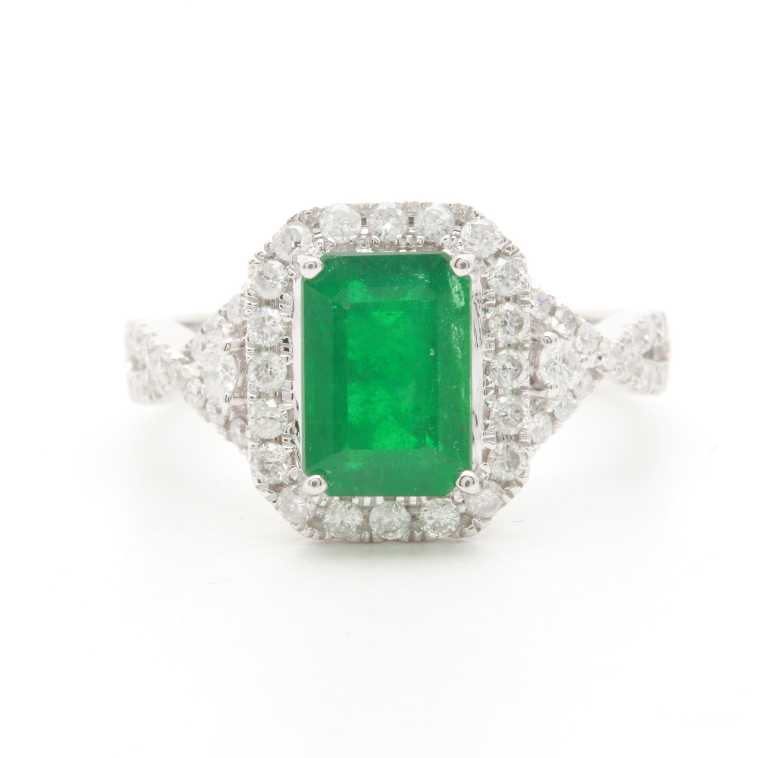 14K White Gold 1.56 CT Emerald and Diamond Ring