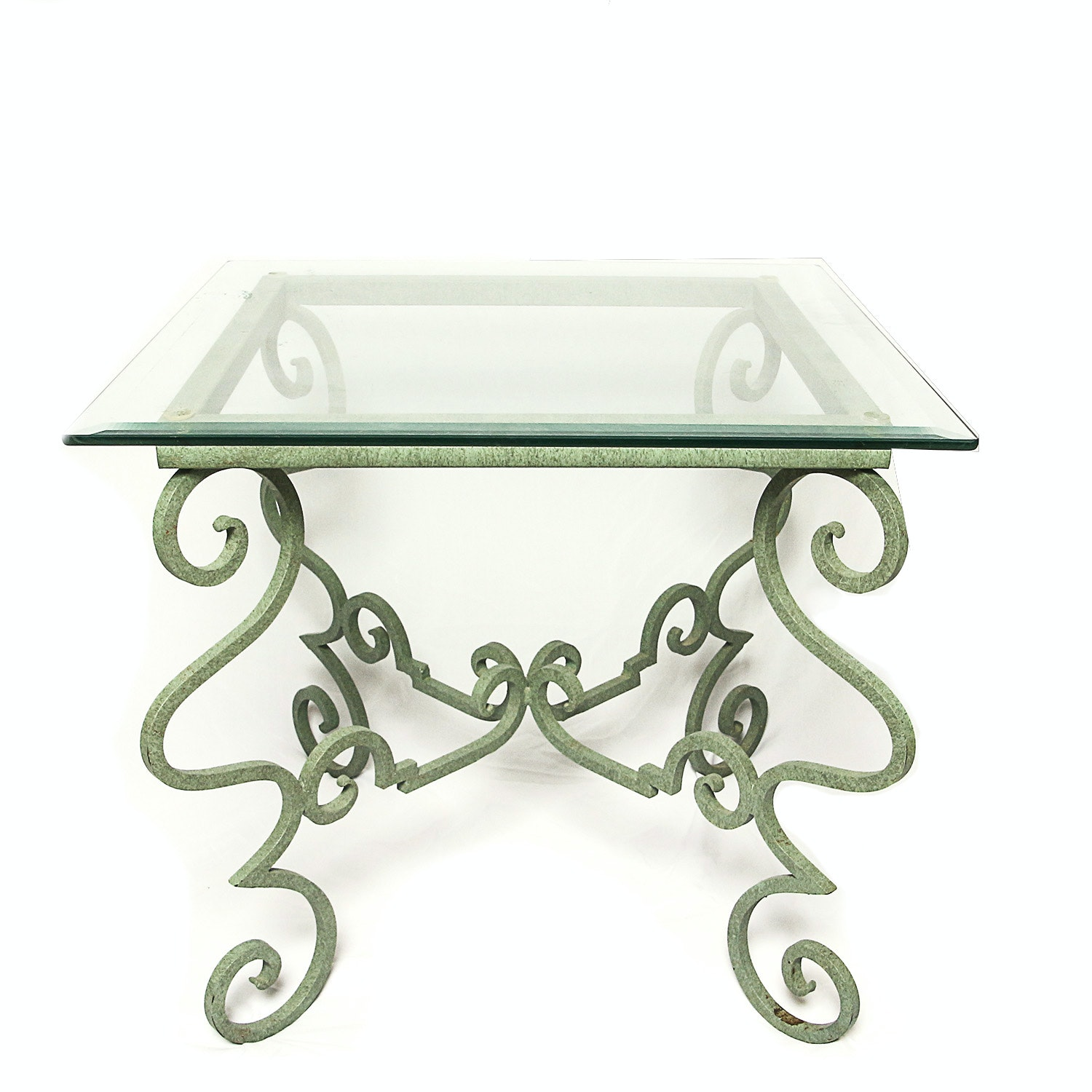 Glass Top Side Table with Green Painted Metal Base