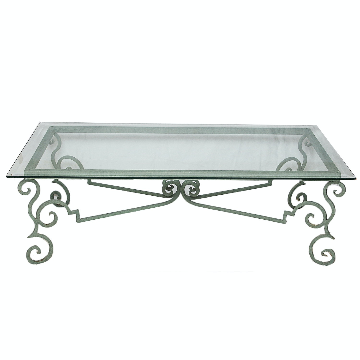 Glass Top Coffee Table with Green Painted Metal Base