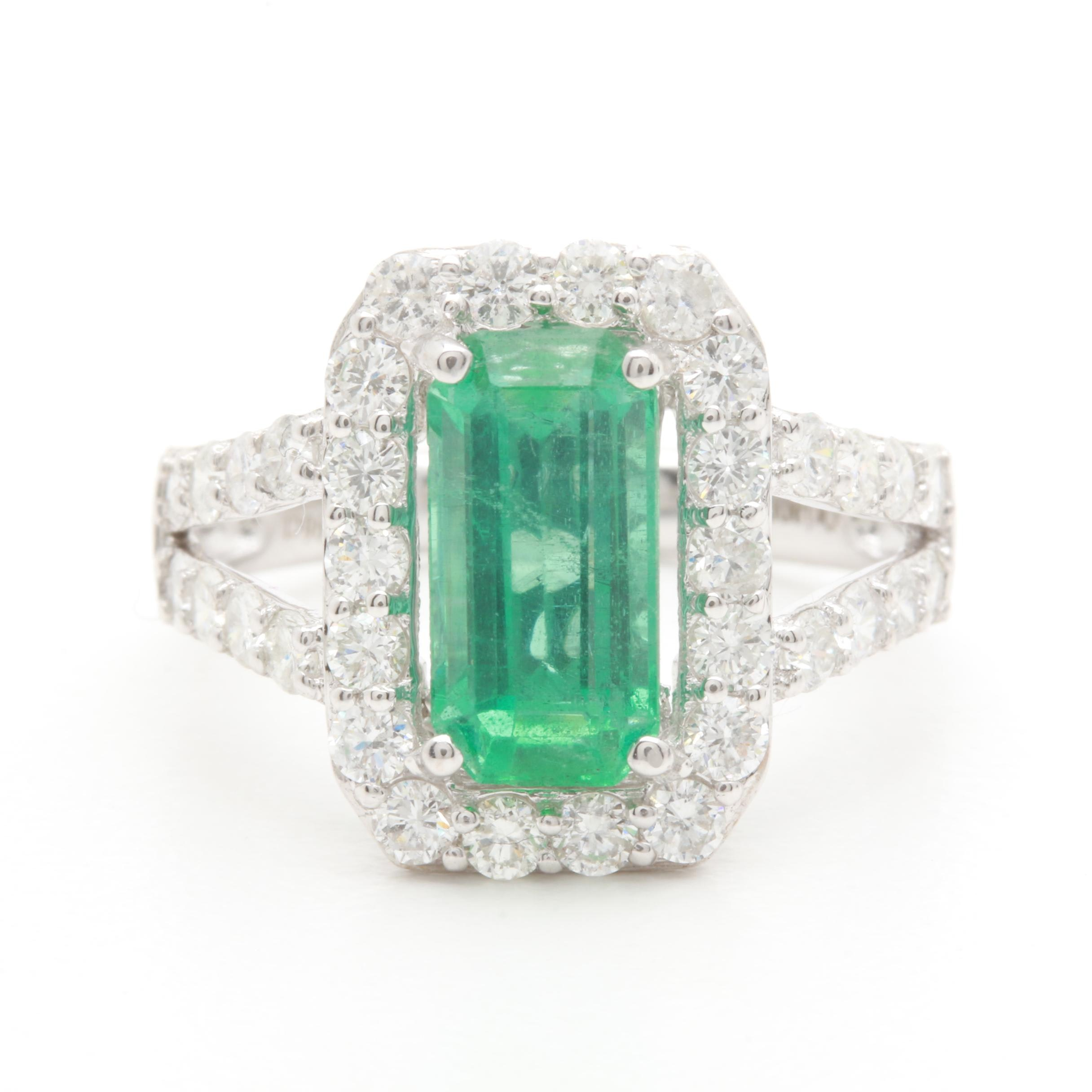 14K White Gold 1.74 CT Emerald and 1.02 CTW Diamond Ring