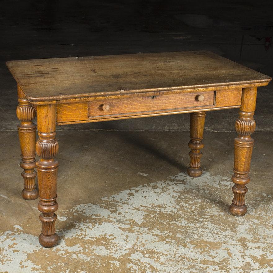 Antique Oak Writing Desk ... - Antique Oak Writing Desk : EBTH