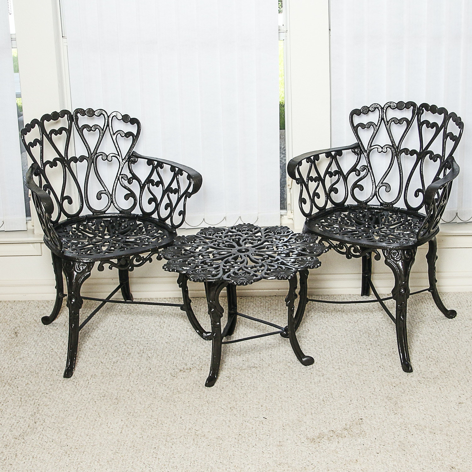 Victorian Style Black Metal Patio Armchairs with Accent Table