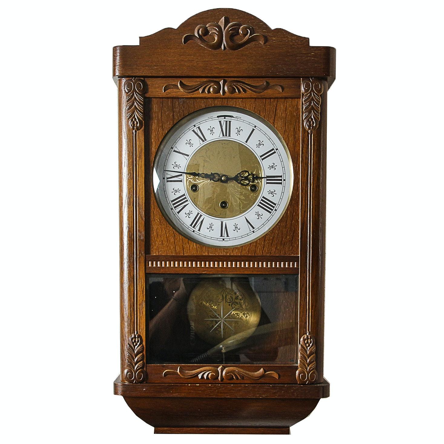 Vintage Steinbach West German Oak Wall Clock