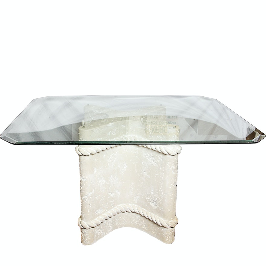 Gl Top Dining Table With Plaster Pedestal Base
