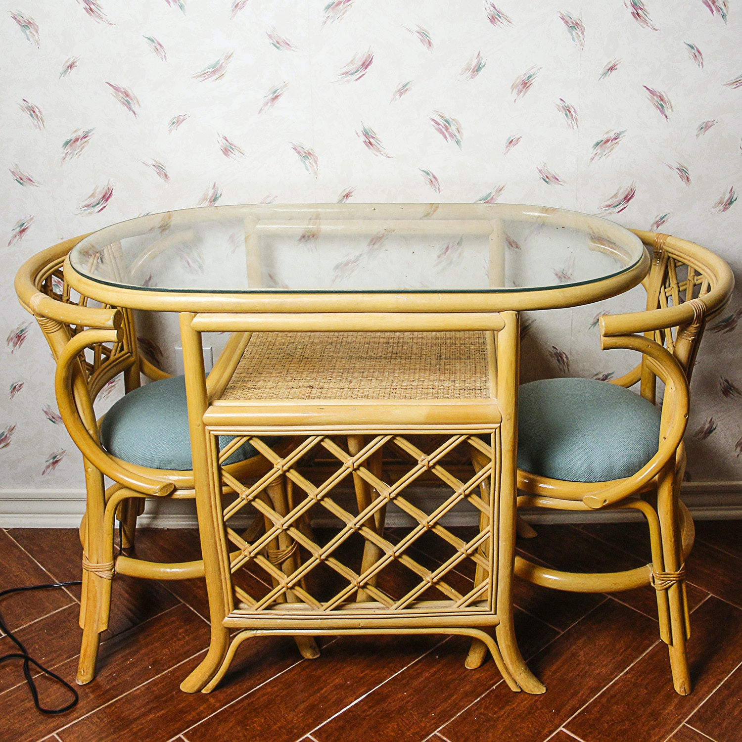 Glass Top Rattan Table with Side Chairs