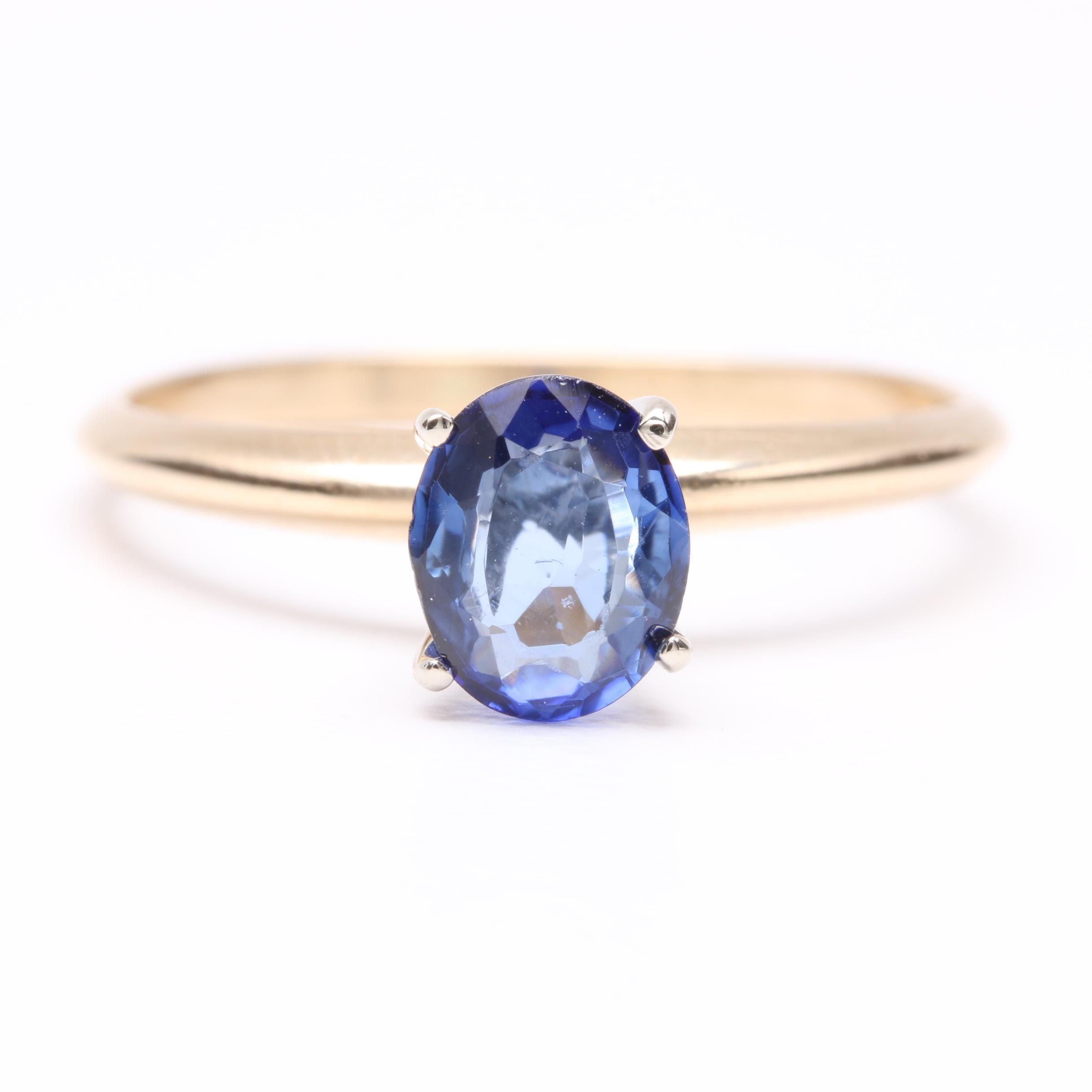 14K Yellow Gold Blue Sapphire Solitaire Ring