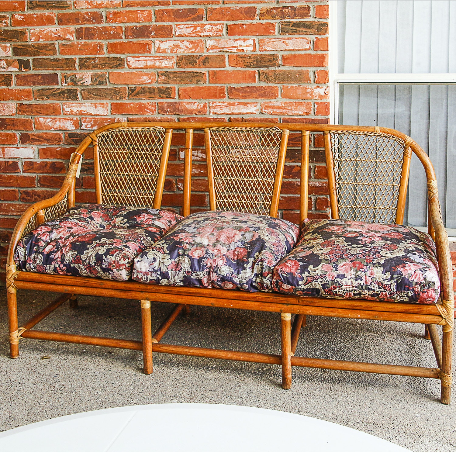 Vintage Rattan Patio Sofa