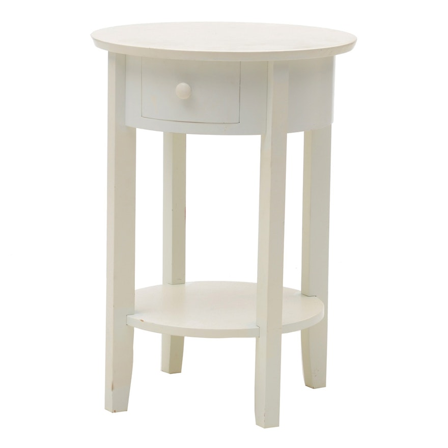 Pottery Barn White Circular Bedside Table EBTH - Pottery barn white bedside table