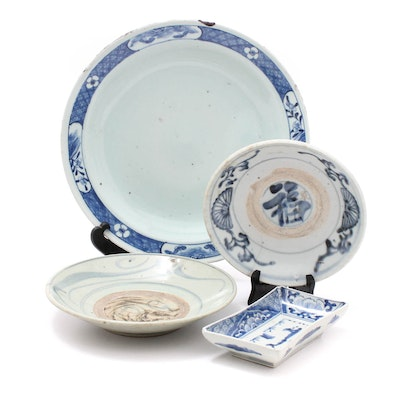 Antique Blue and White Chinese Canton Export Ceramic Trays