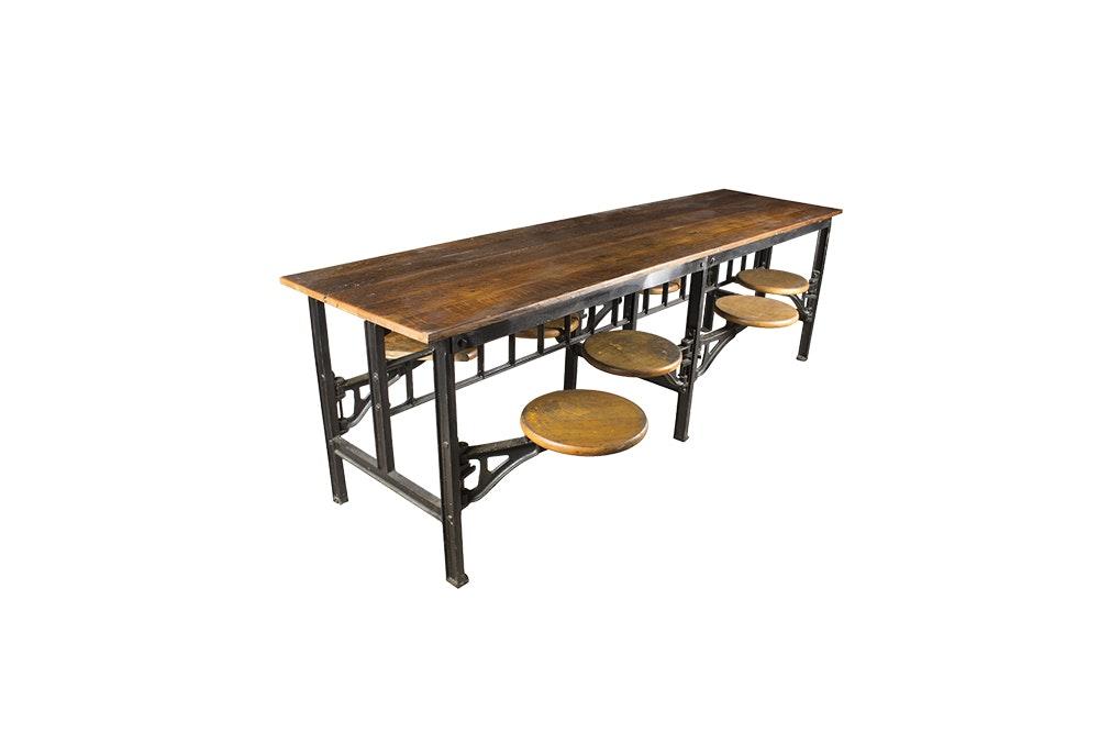Vintage Industrial Cafeteria Table