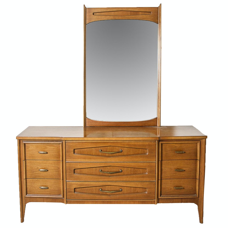 Vintage Mid Century Modern Dresser with Mirror by Bassett Furniture
