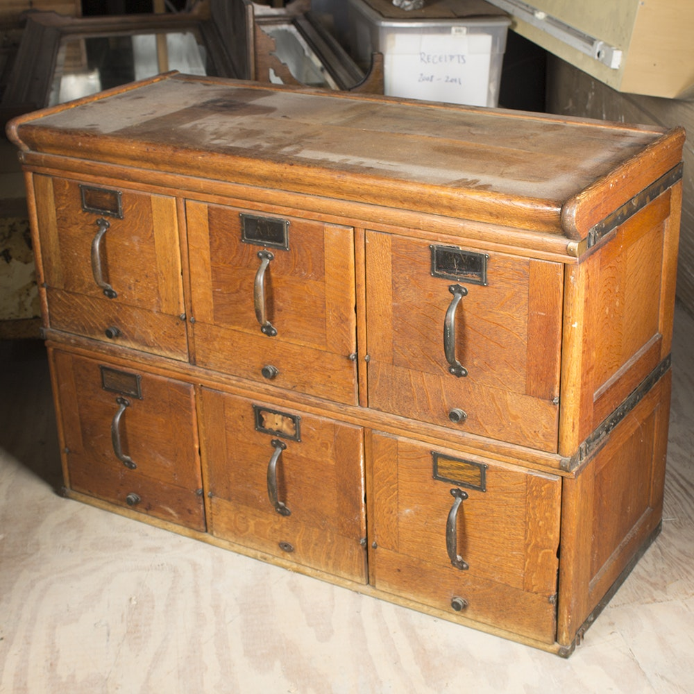 Antique Oak Six-Drawer File Cabinet
