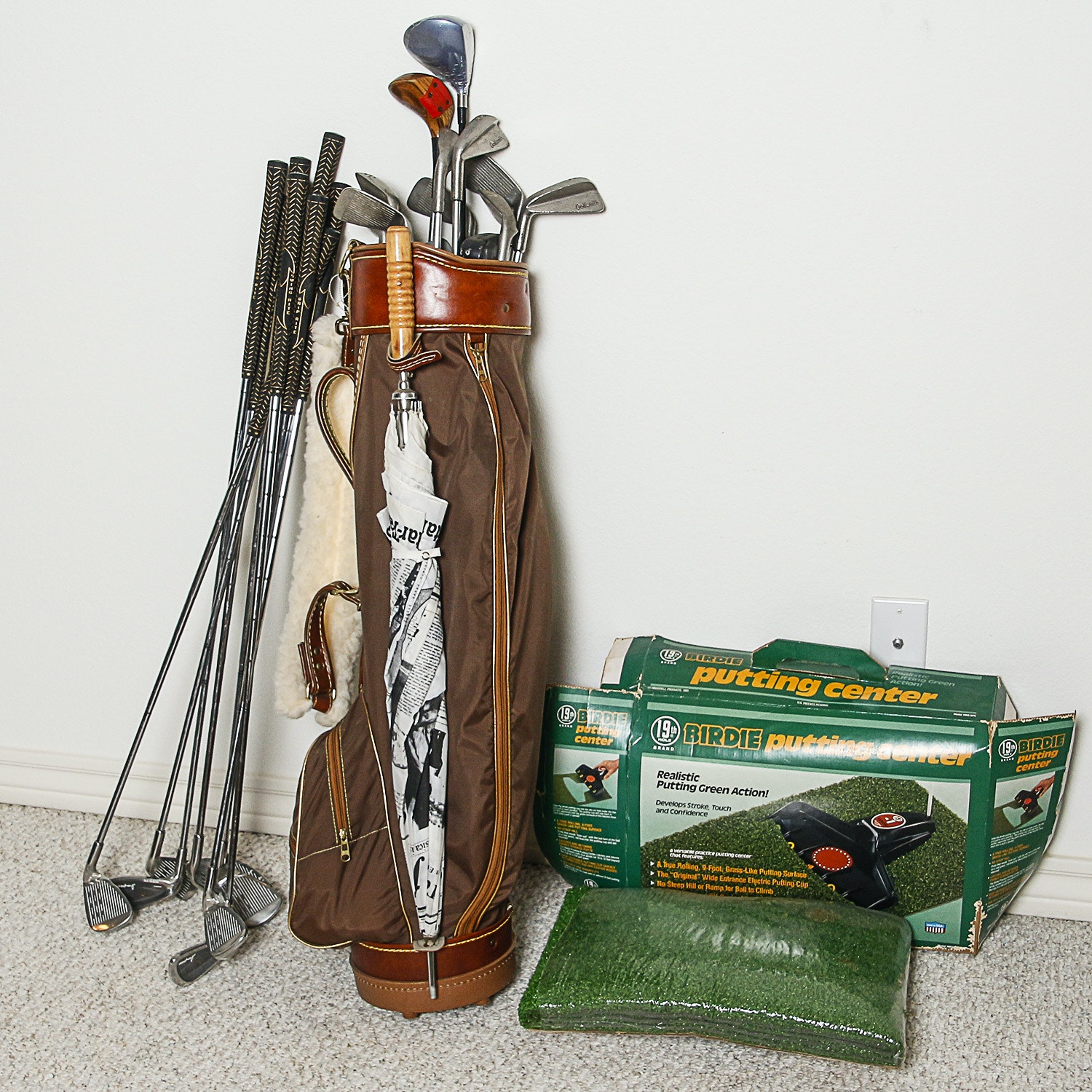 Golf Clubs, Bag and Birdie Putting Center