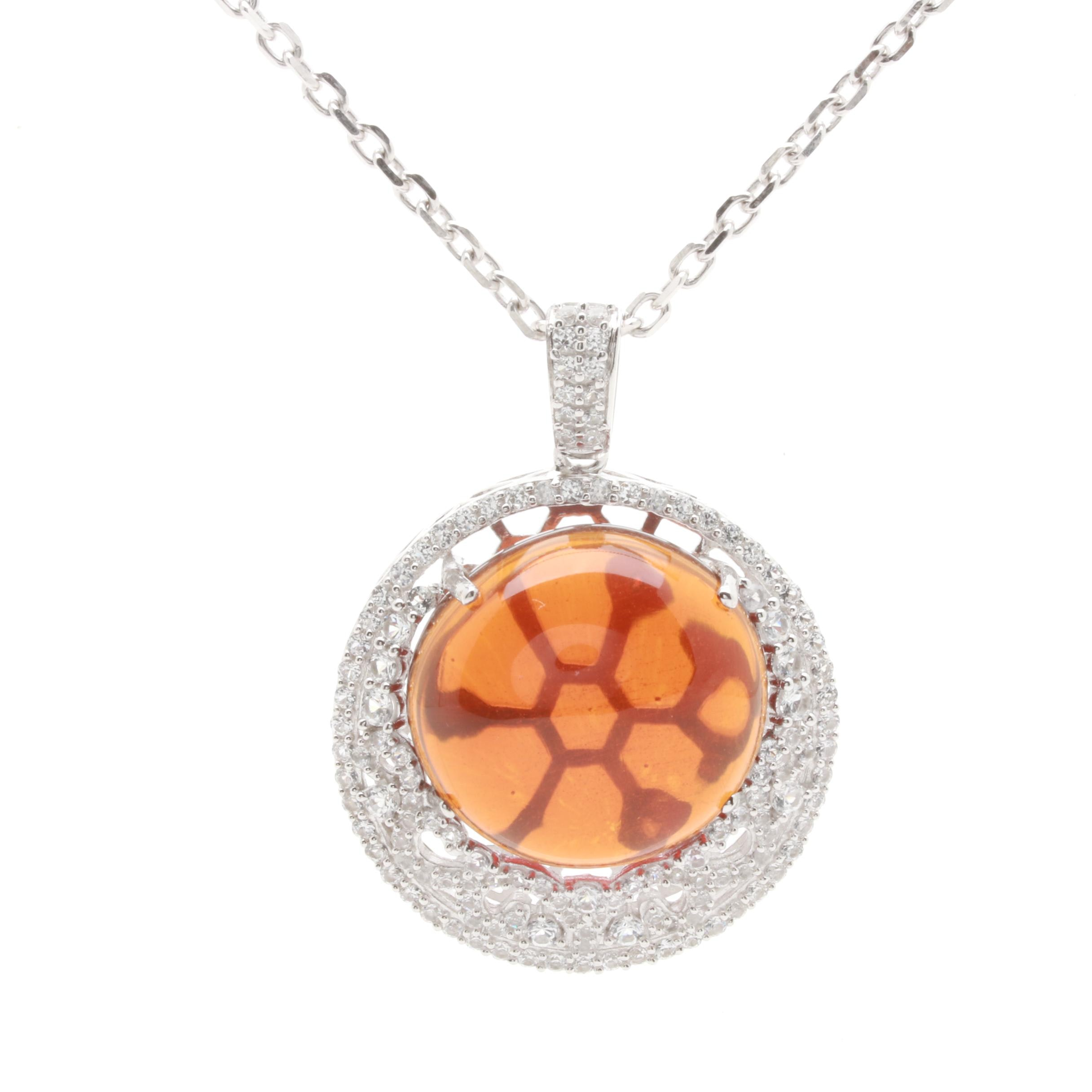 Sterling Silver Synthetic Citrine and White Topaz Necklace
