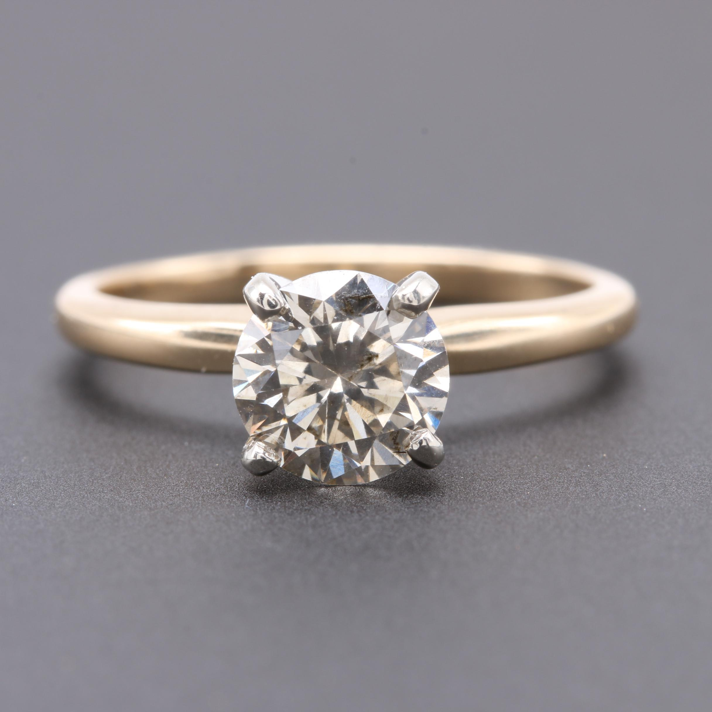 14K Yellow Gold 1.08 CT Diamond Solitaire Ring