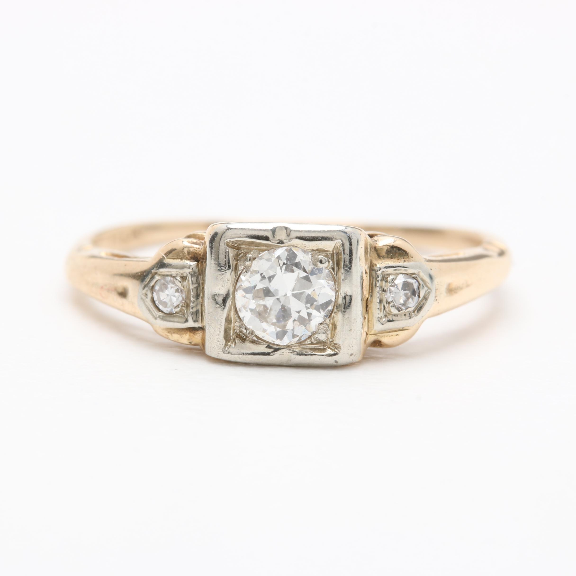 Circa 1930s 14K Yellow Gold Diamond Ring with White Gold Accents