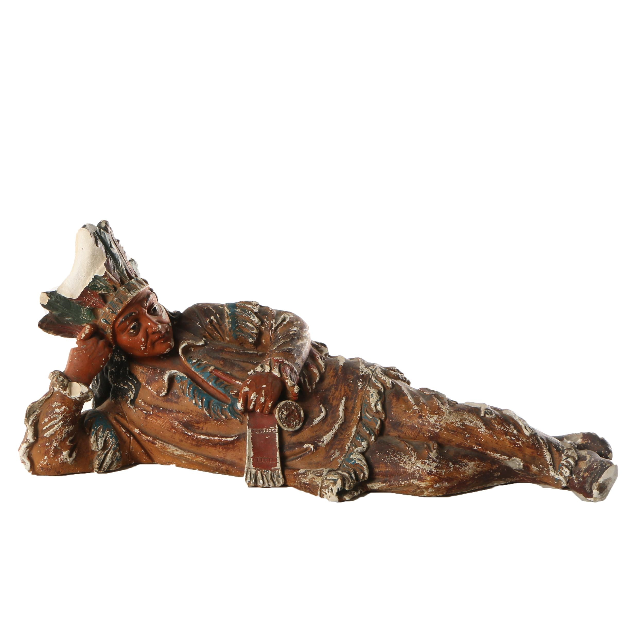 Vintage Chalkware Reclining Native American Inspired Figure