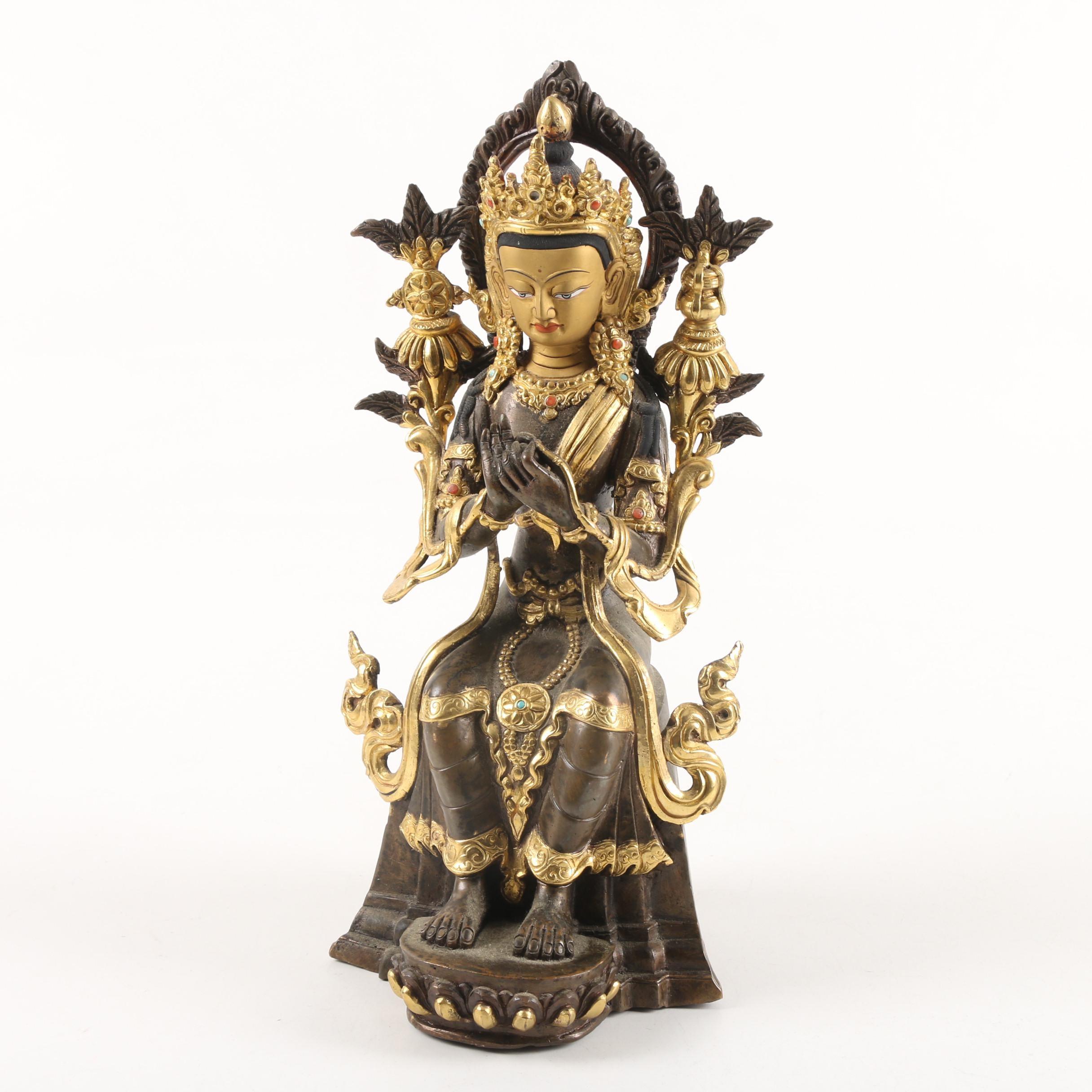 Tibetan Metal Sculpture of Tara Figure