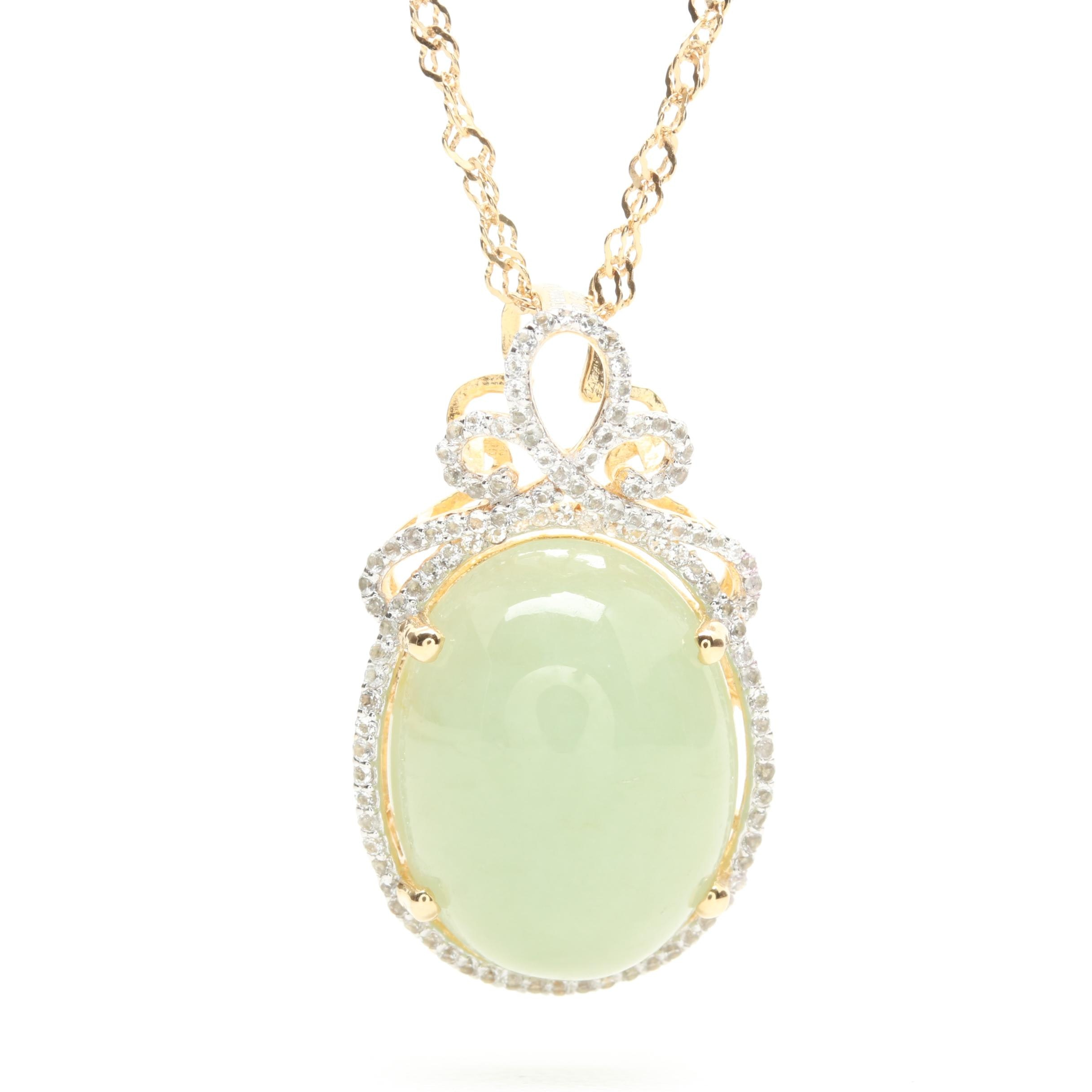 Gold Wash On Sterling Silver Jadeite and White Topaz Necklace
