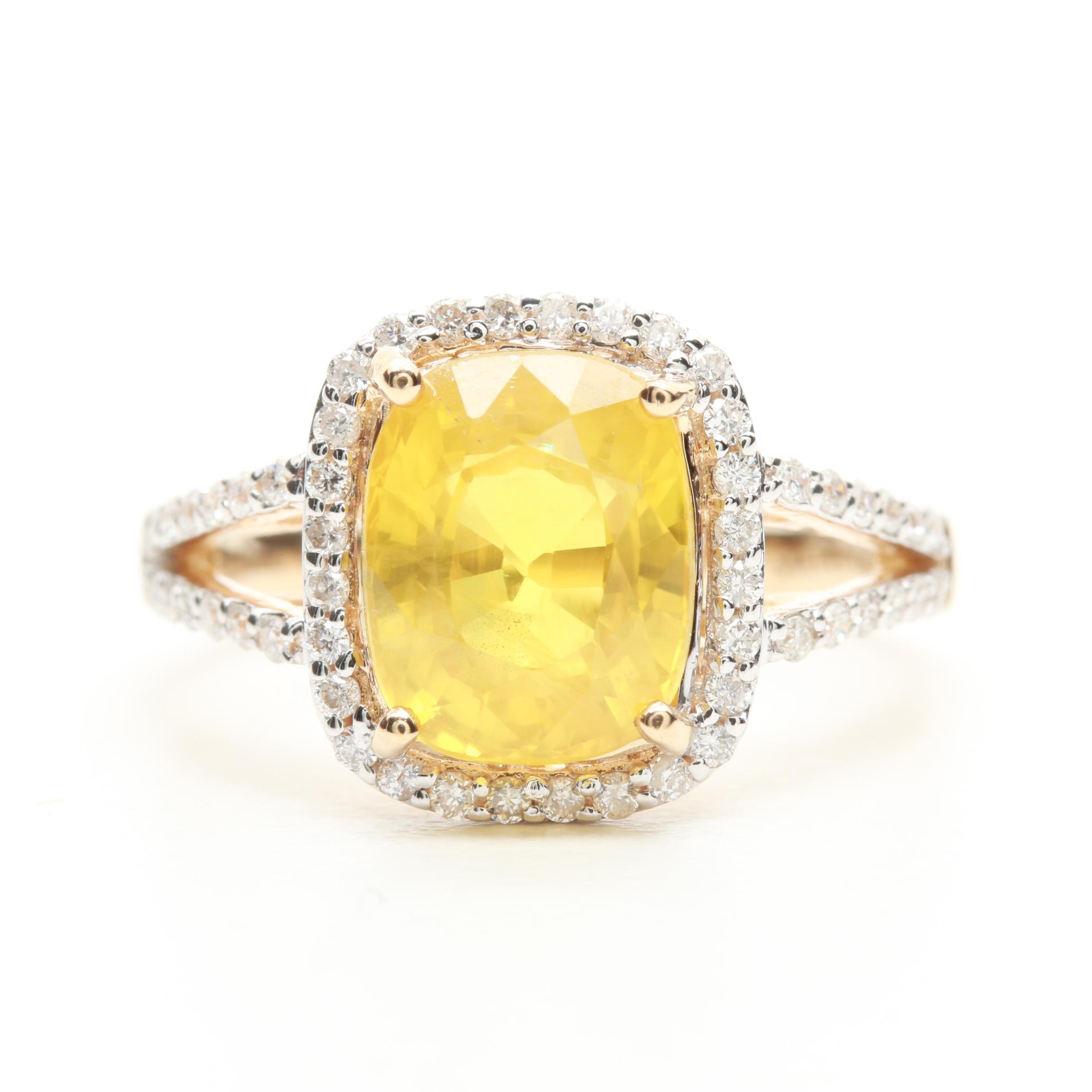 14K Yellow Gold 3.74 CT Yellow Sapphire and Diamond Ring