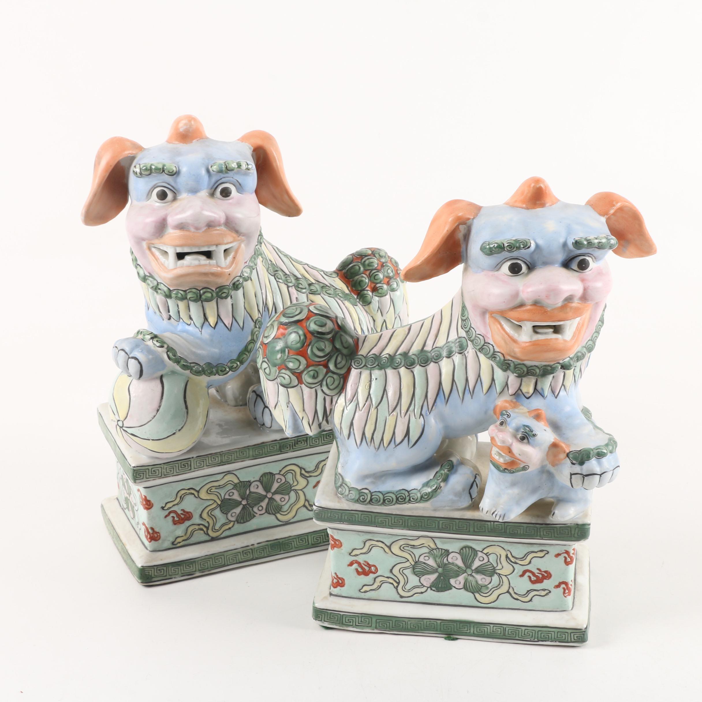 Vintage Chinese Ceramic Guardian Lion Figurines