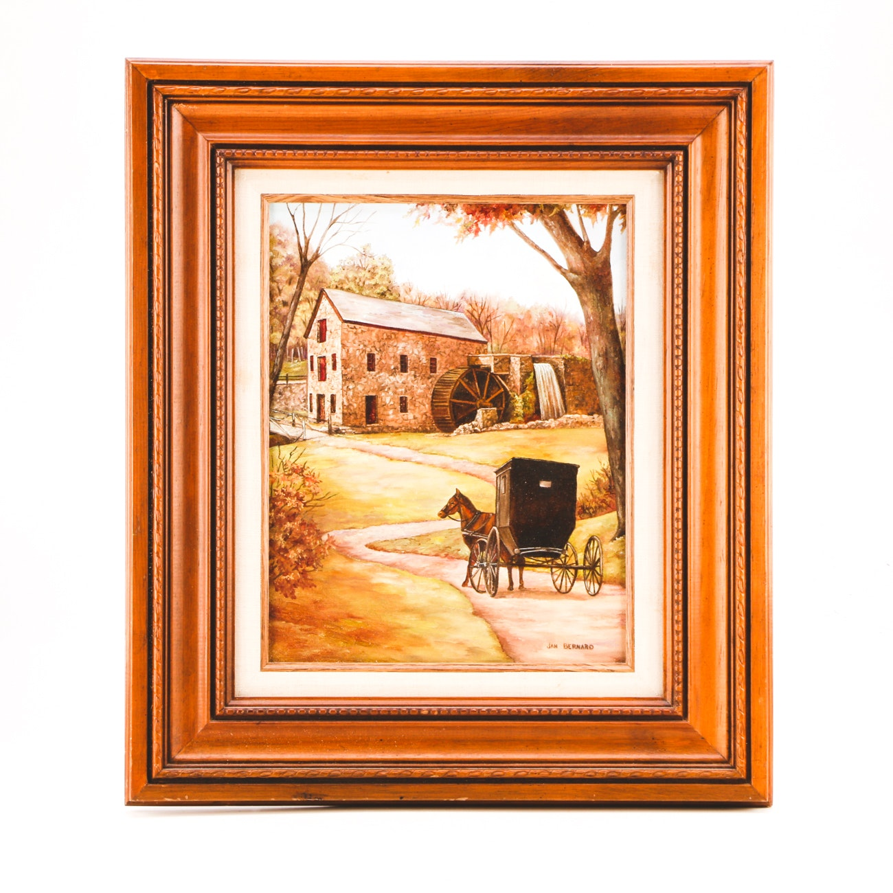 Jan Bernard Original Oil Landscape with Horse & Buggy on Canvas