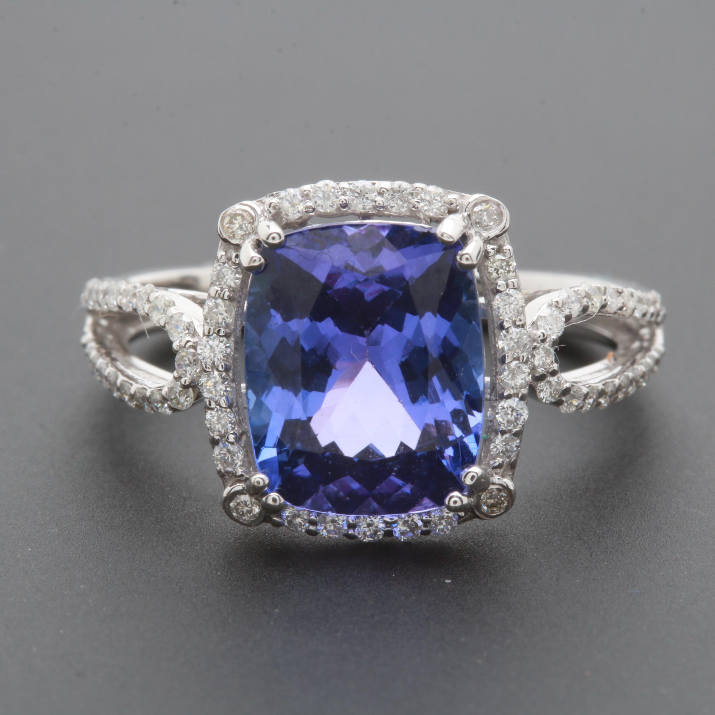 14K White Gold 2.98 CT Tanzanite and Diamond Ring