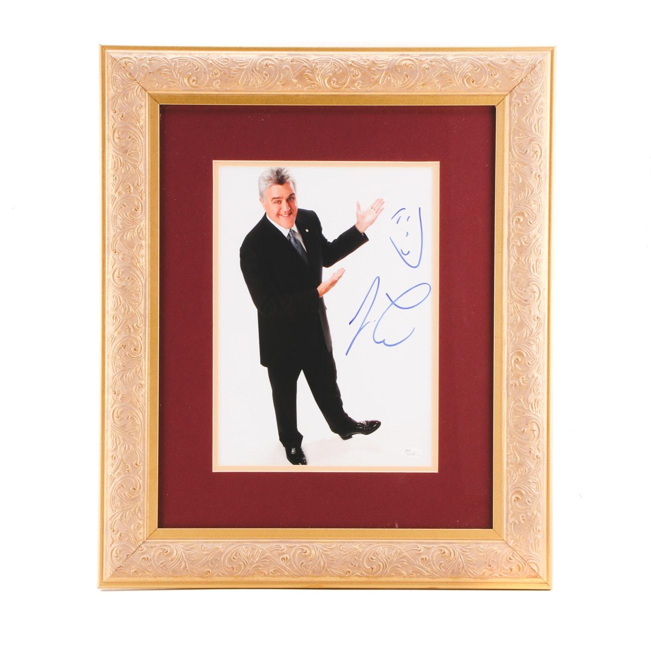 Jay Leno Comedian and TV Host Signed Framed Display JSA COA