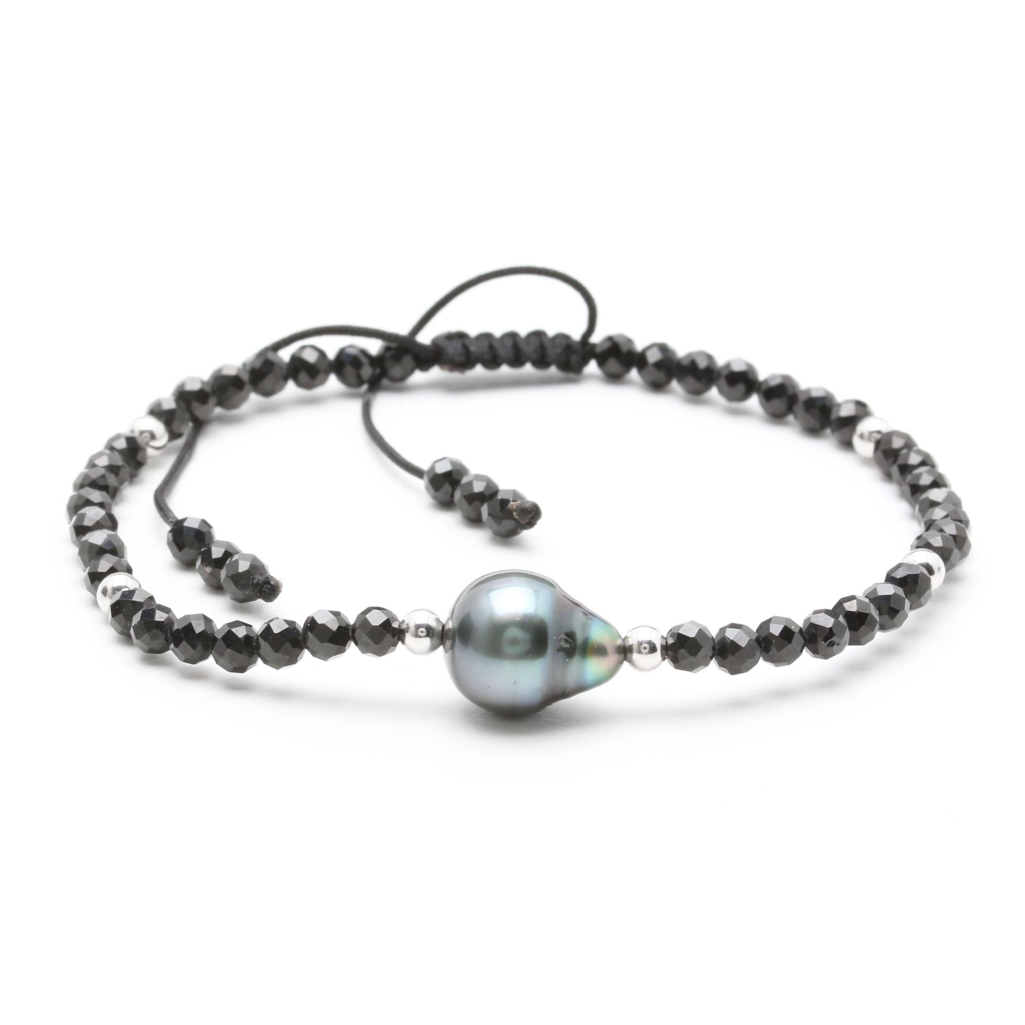 Cultured Pearl and Black Onyx Adjustable Beaded Bracelet