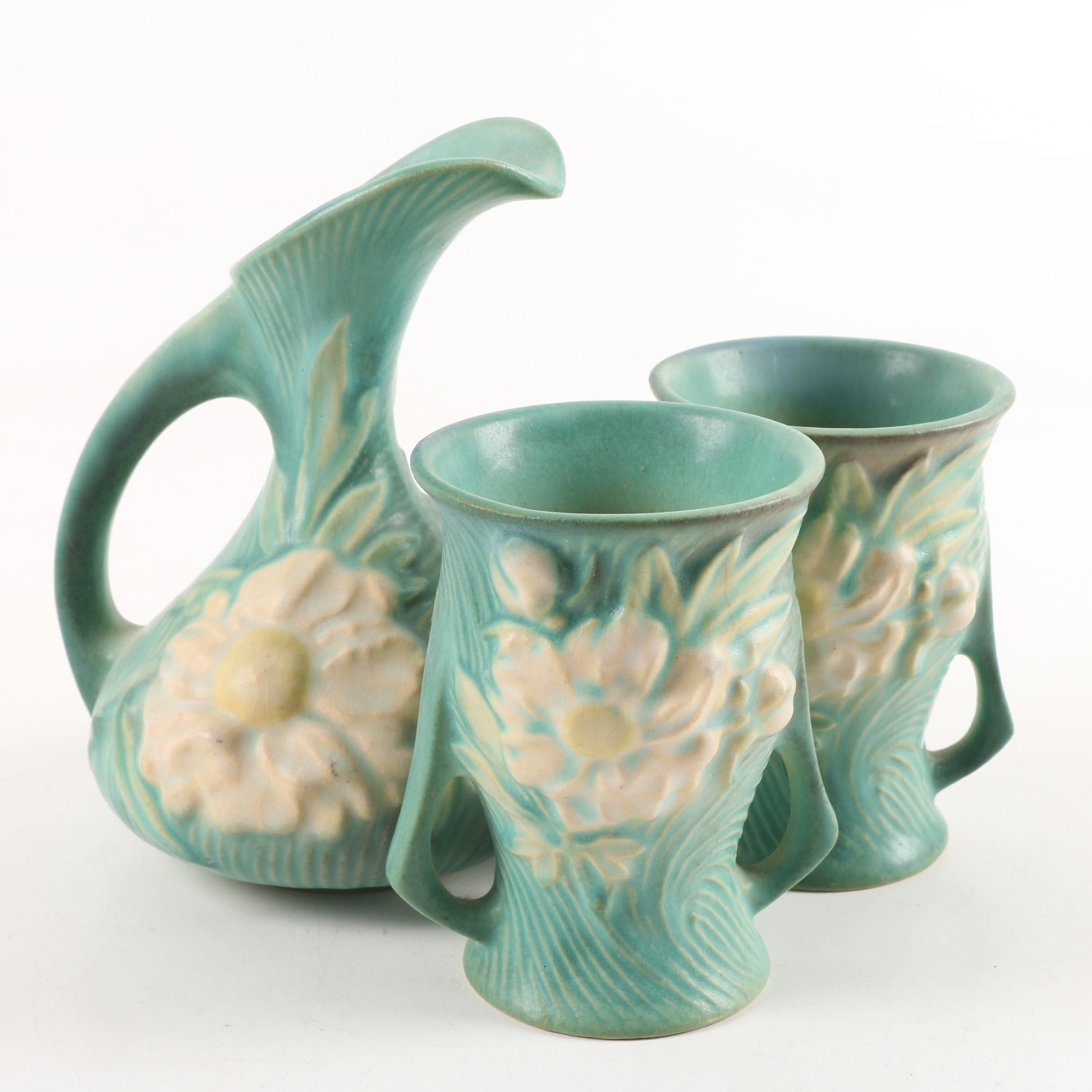 "Roseville Pottery ""Peony"" Ewer and Vases"