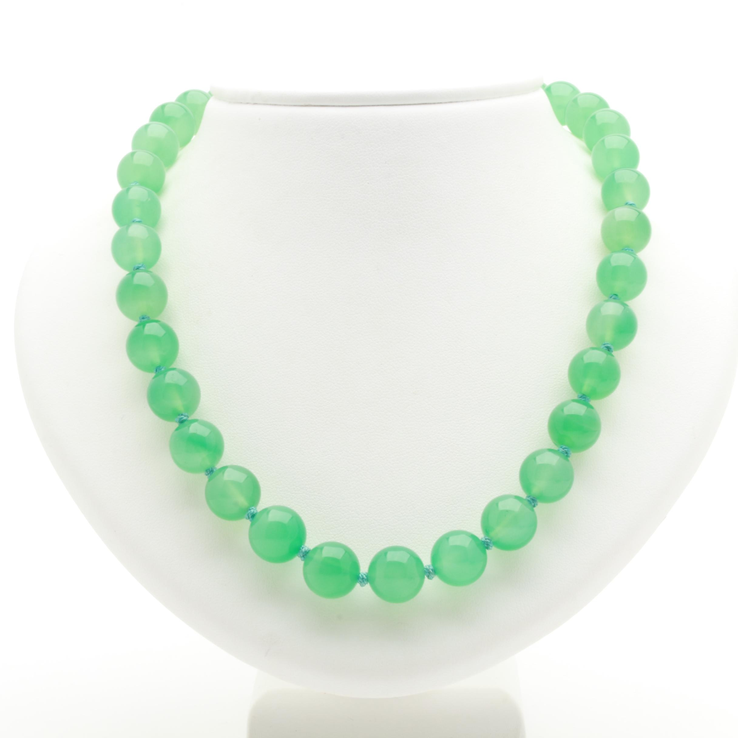Sterling Silver Chalcedony Beaded Necklace
