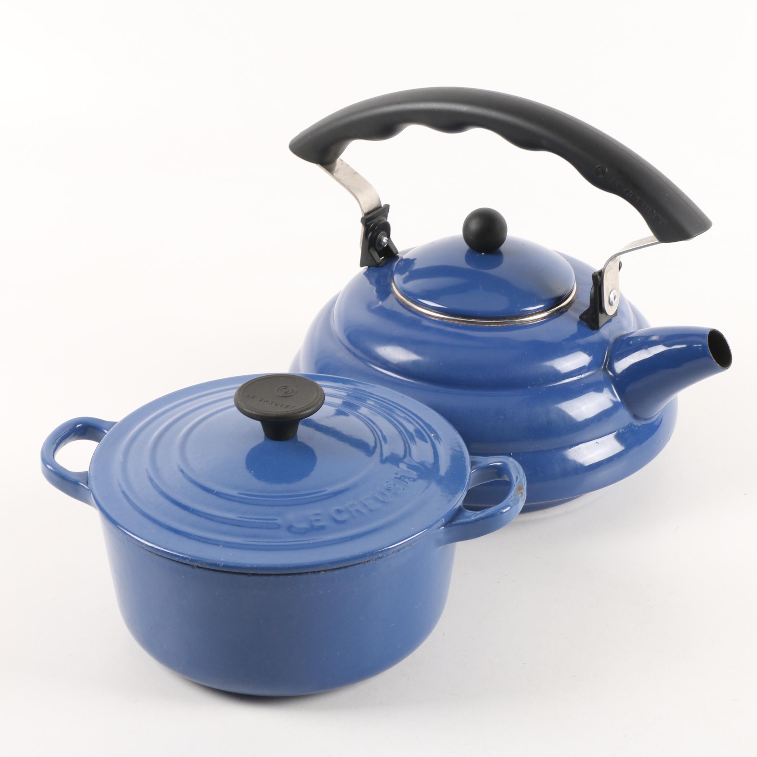 Le Creuset Blue Enameled Tea Kettle and Dutch Oven