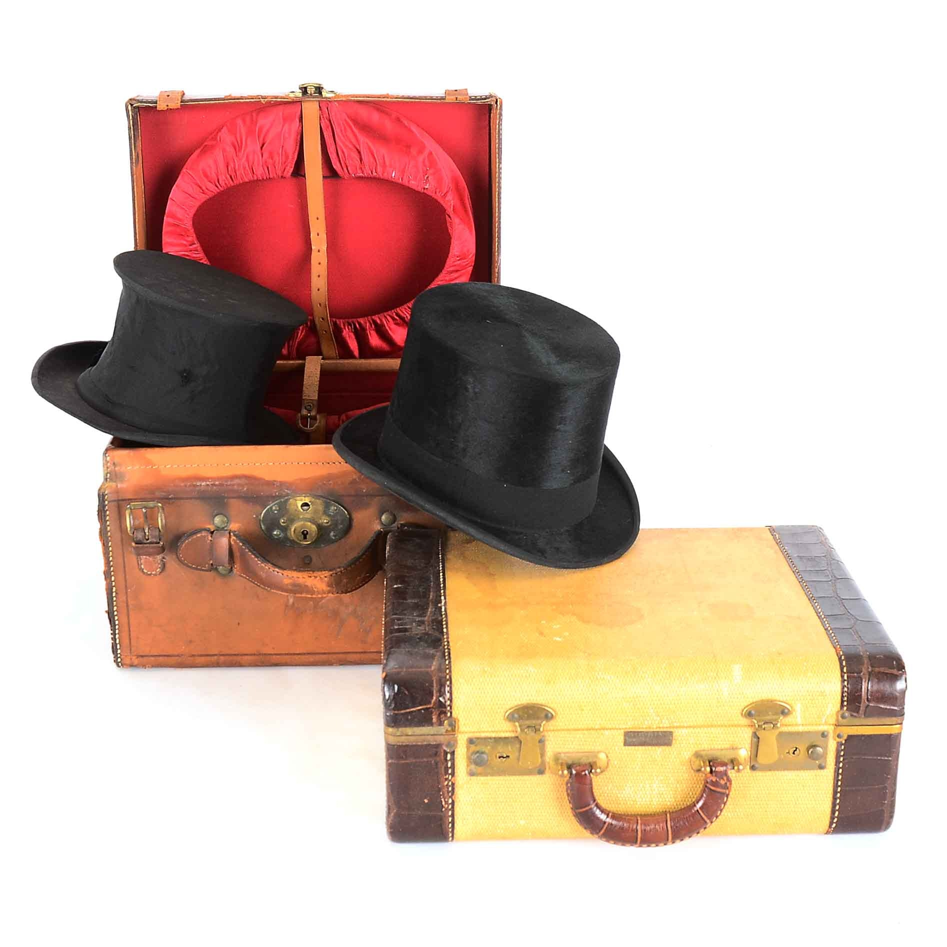 Two Vintage Cases and Top Hat