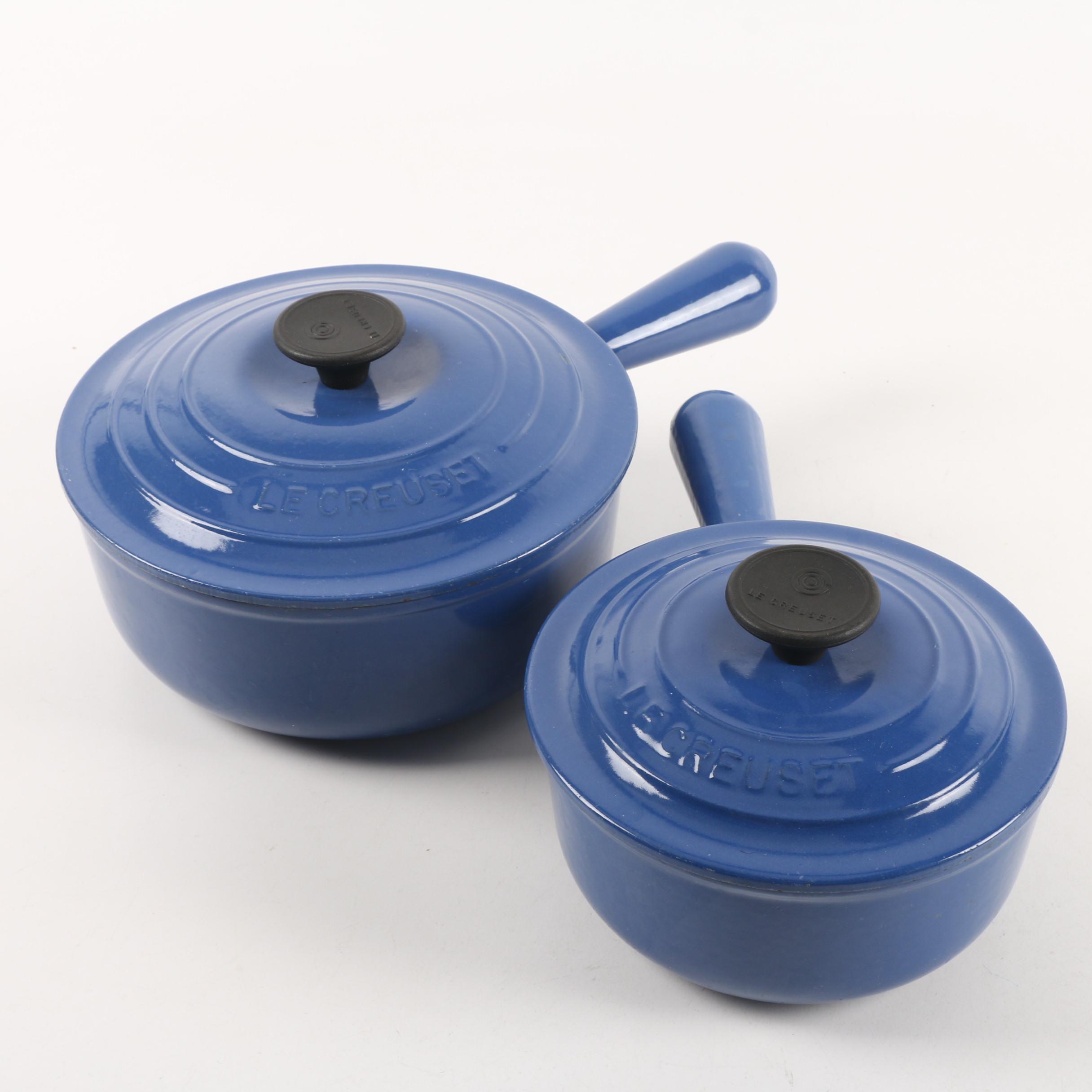 Le Creuset Blue Enameled Sauce Pans