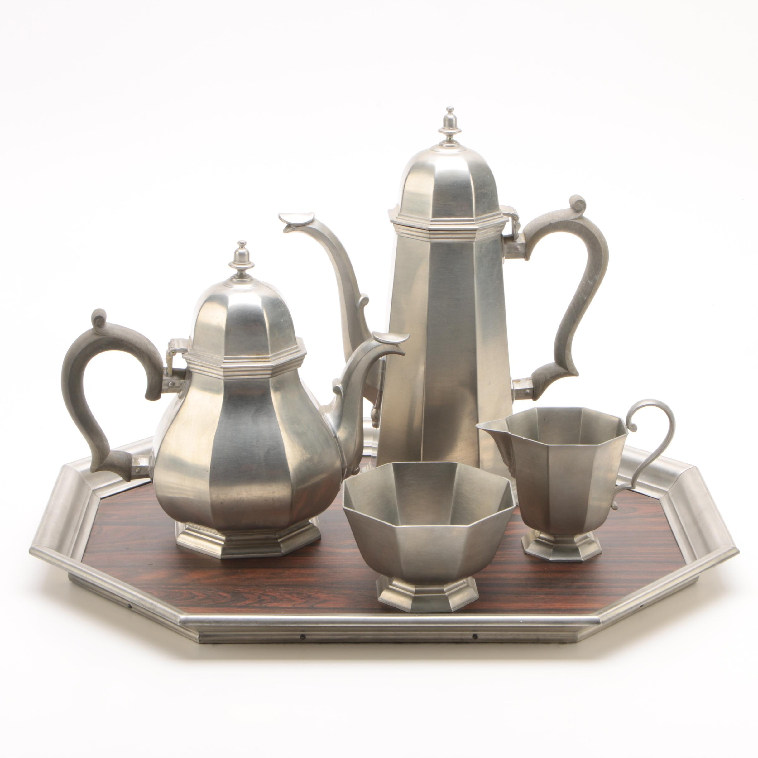 """Vintage Gorham Pewter """"Octette"""" Tea and Coffee Service Set with Tray"""