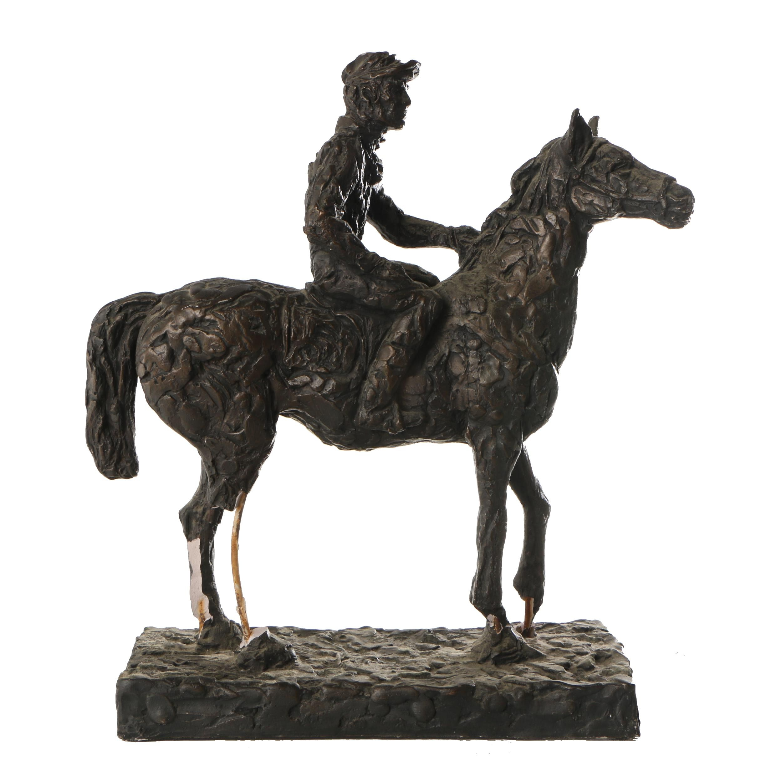 Austin Productions Plaster Sculpture of a Horse and Rider