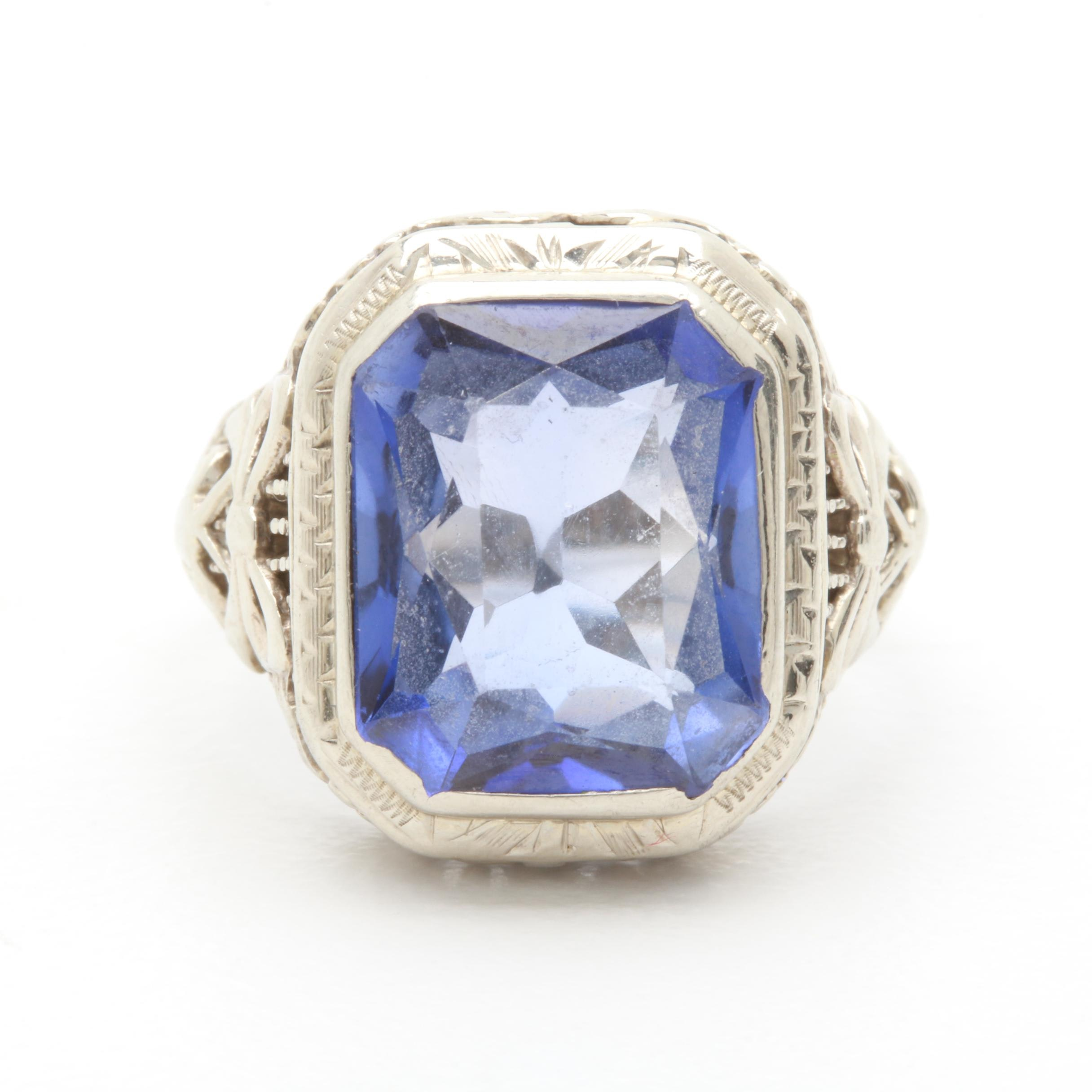 Vintage 14K White Gold Synthetic Blue Sapphire Ring