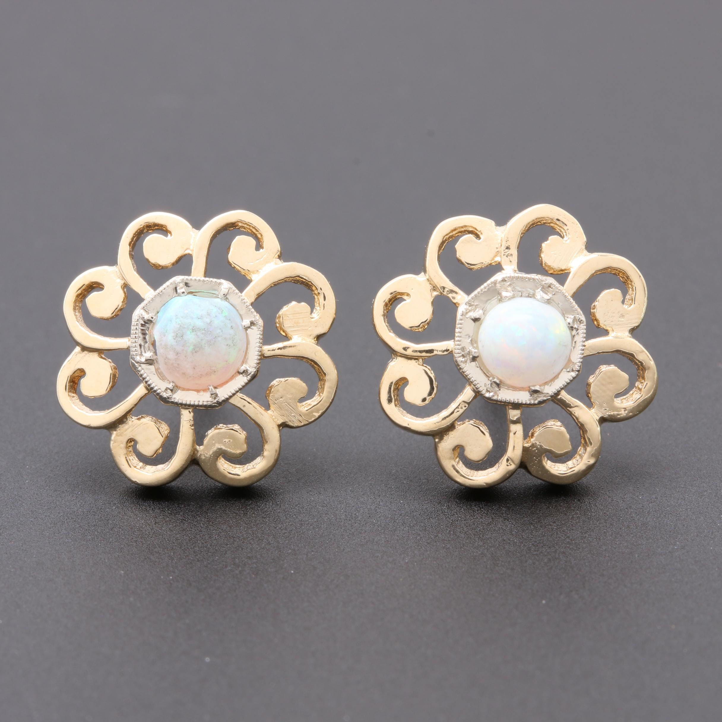 14K Yellow Gold Opal Floral Openwork Earrings