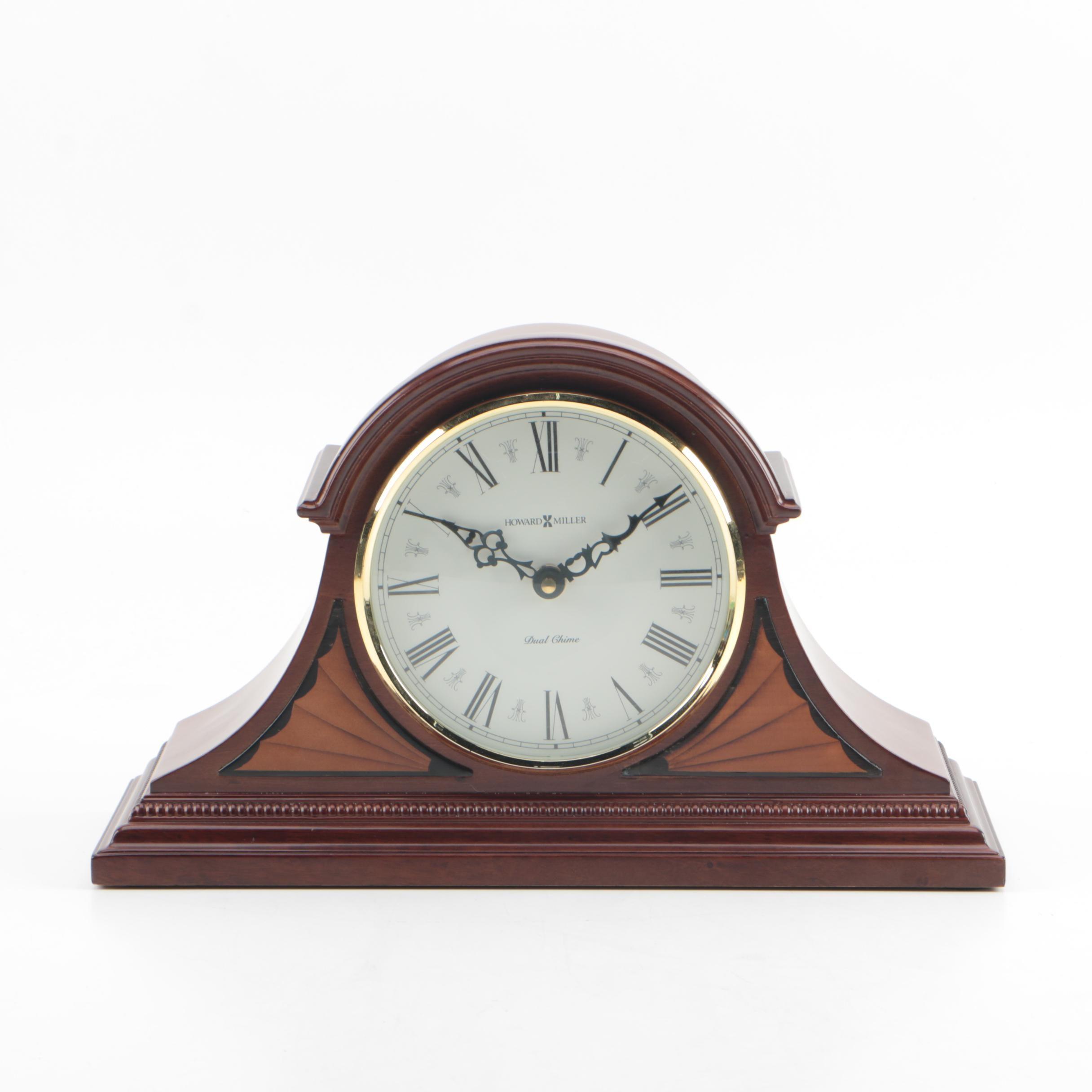 """Howard MIller Dual Chime """"Tristan"""" Tambour Mantel Clock"""