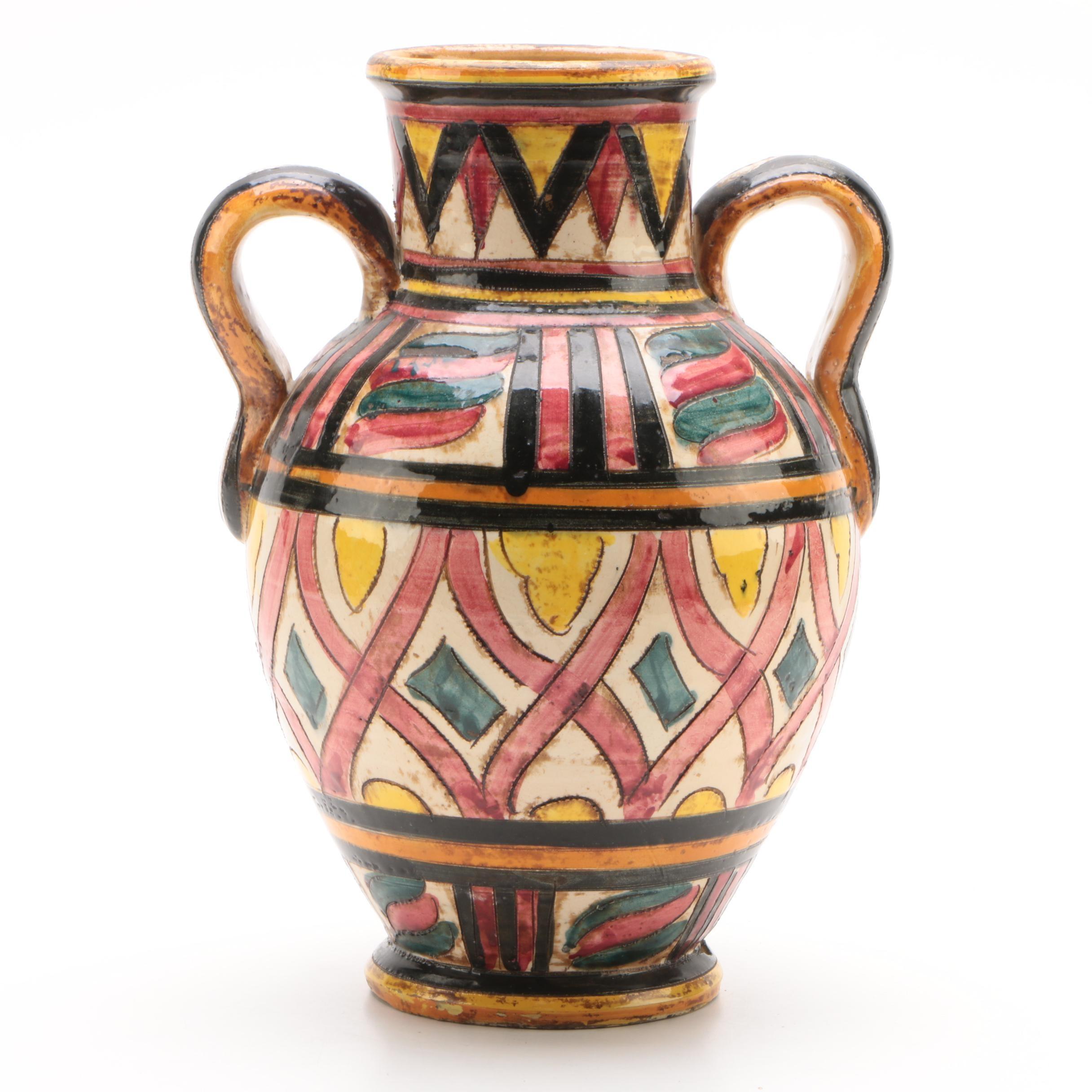 Italian Hand-Painted Art Pottery Vase